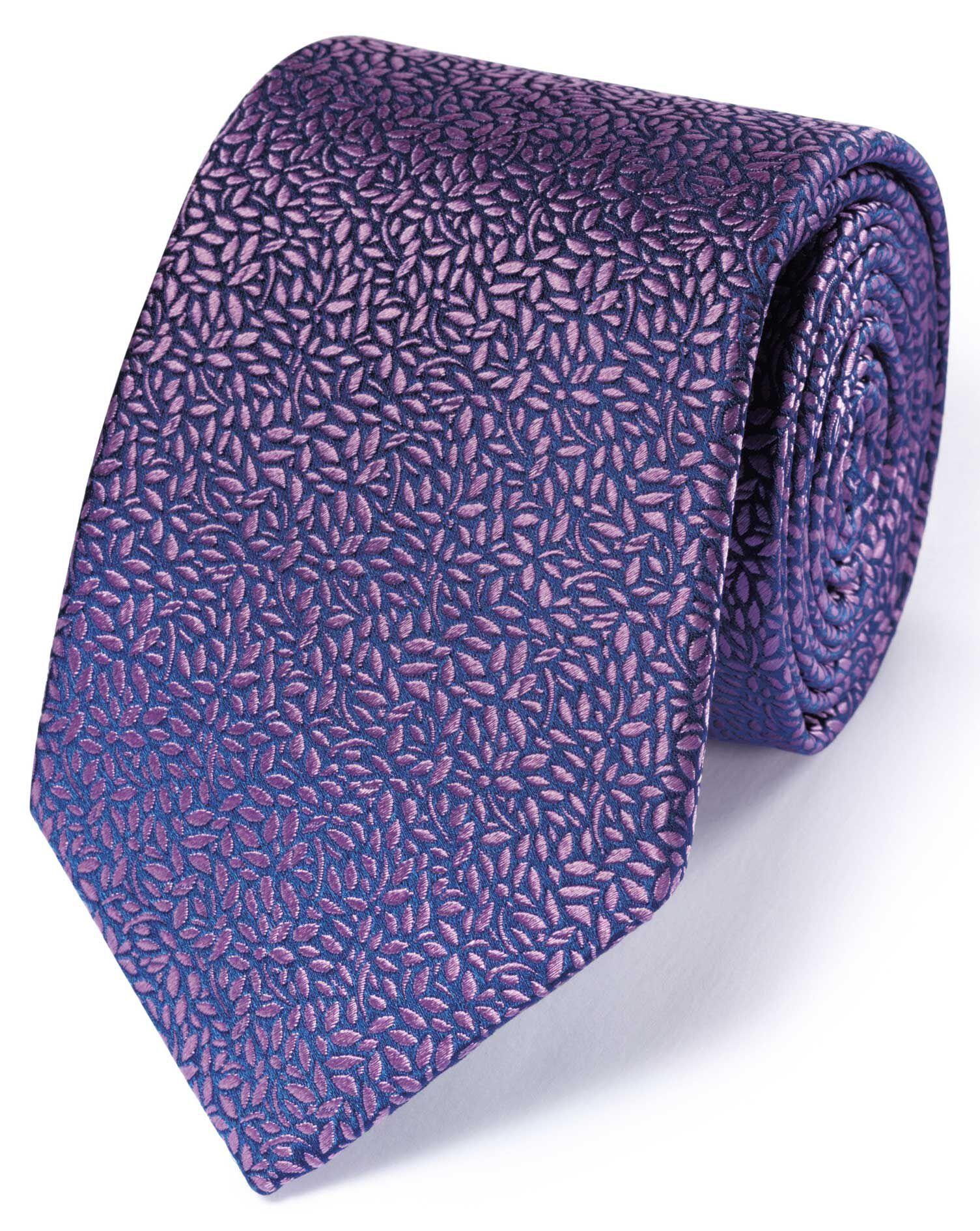 Lilac Silk English Luxury Floral Leaf Tie Size OSFA by Charles Tyrwhitt