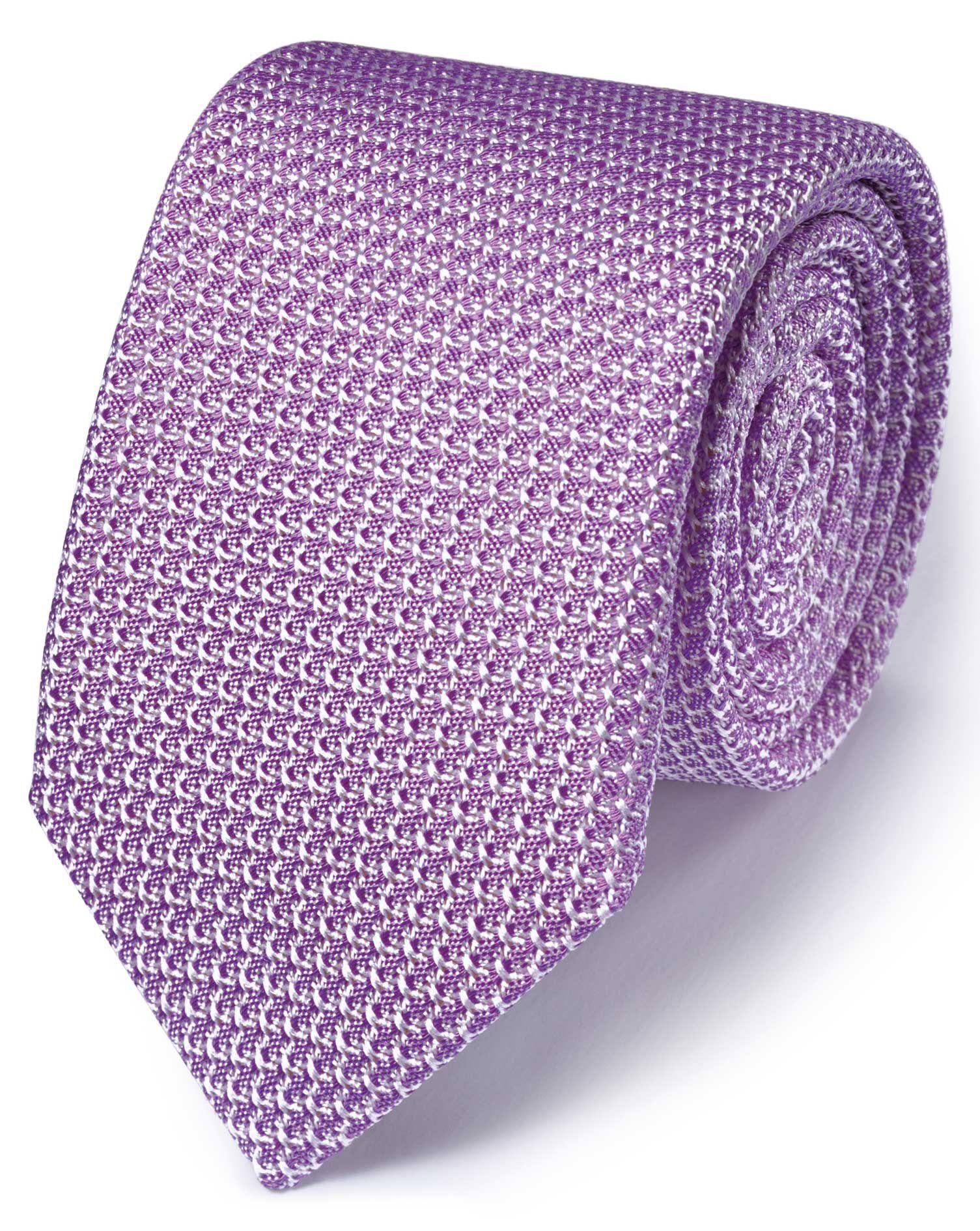 Lilac Silk Italian Luxury Plain Grenadine Tie Size OSFA by Charles Tyrwhitt