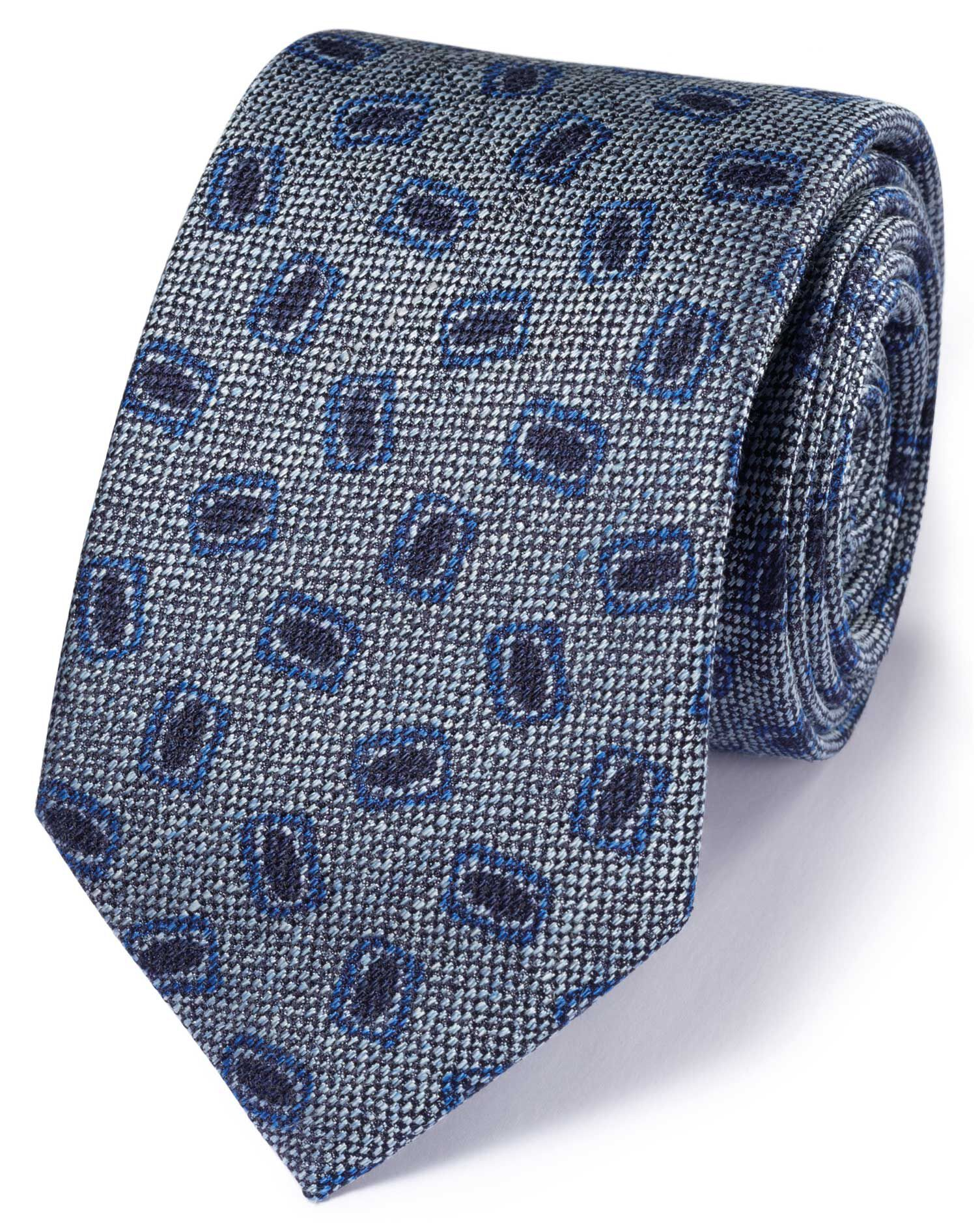 Chambray Linen Mix Italian Luxury Square Tie Size OSFA by Charles Tyrwhitt