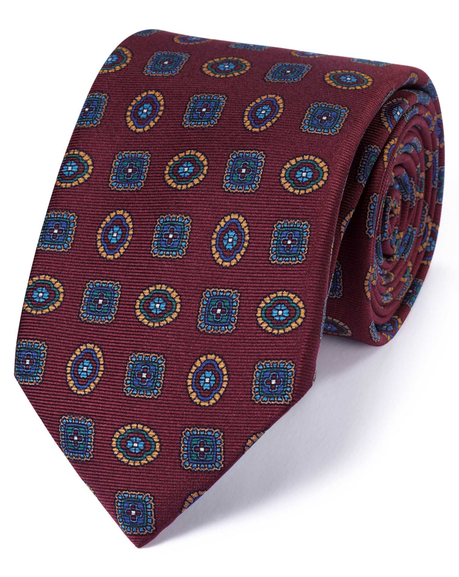 Burgundy Silk English Luxury Medallion Tie Size OSFA by Charles Tyrwhitt