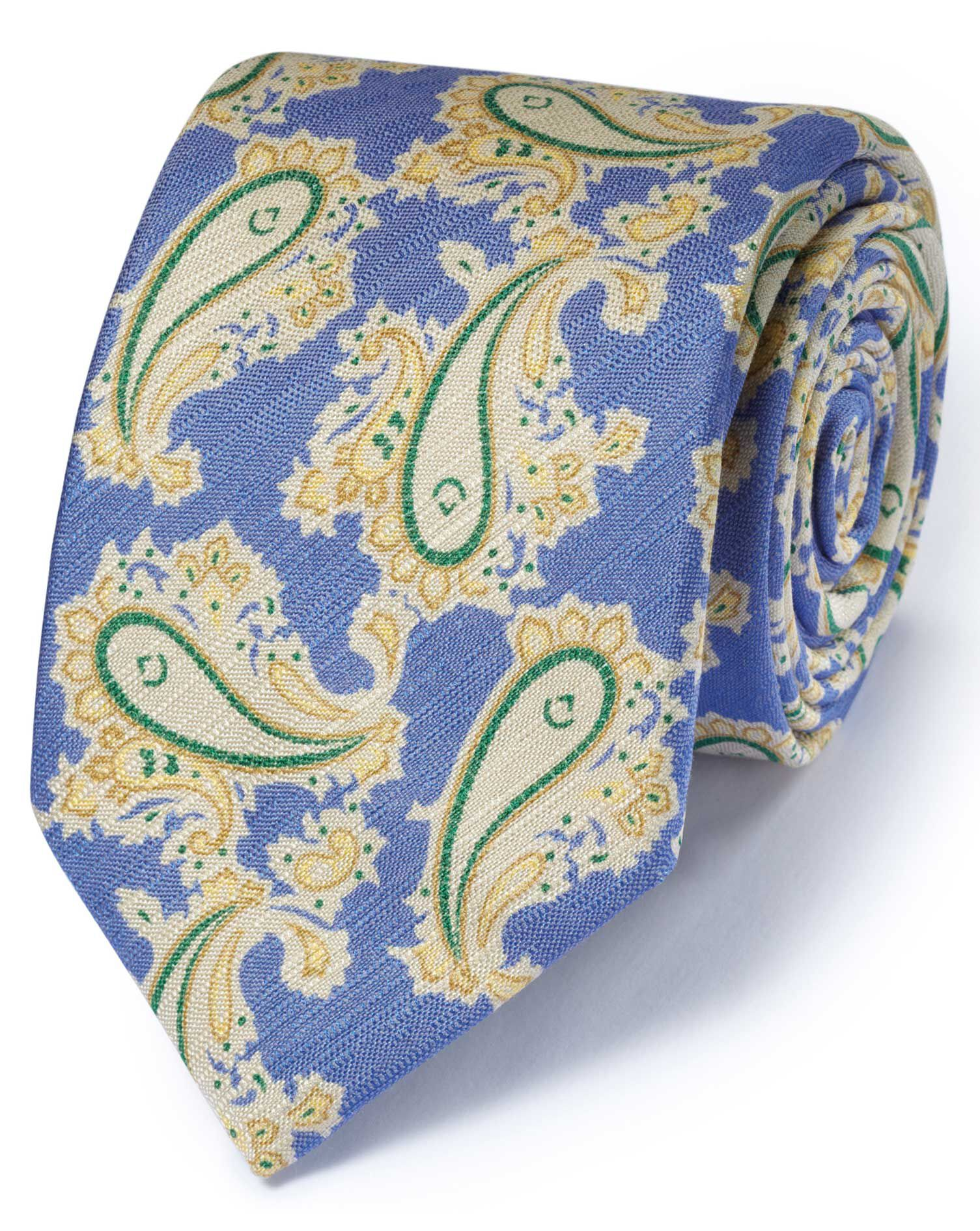 Blue Cotton Mix Printed Floral Italian Luxury Tie Size OSFA by Charles Tyrwhitt
