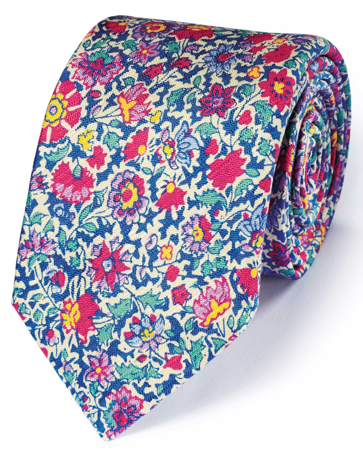 Pink Multi Cotton Mix Printed Floral Italian Luxury Tie Size OSFA by Charles Tyrwhitt