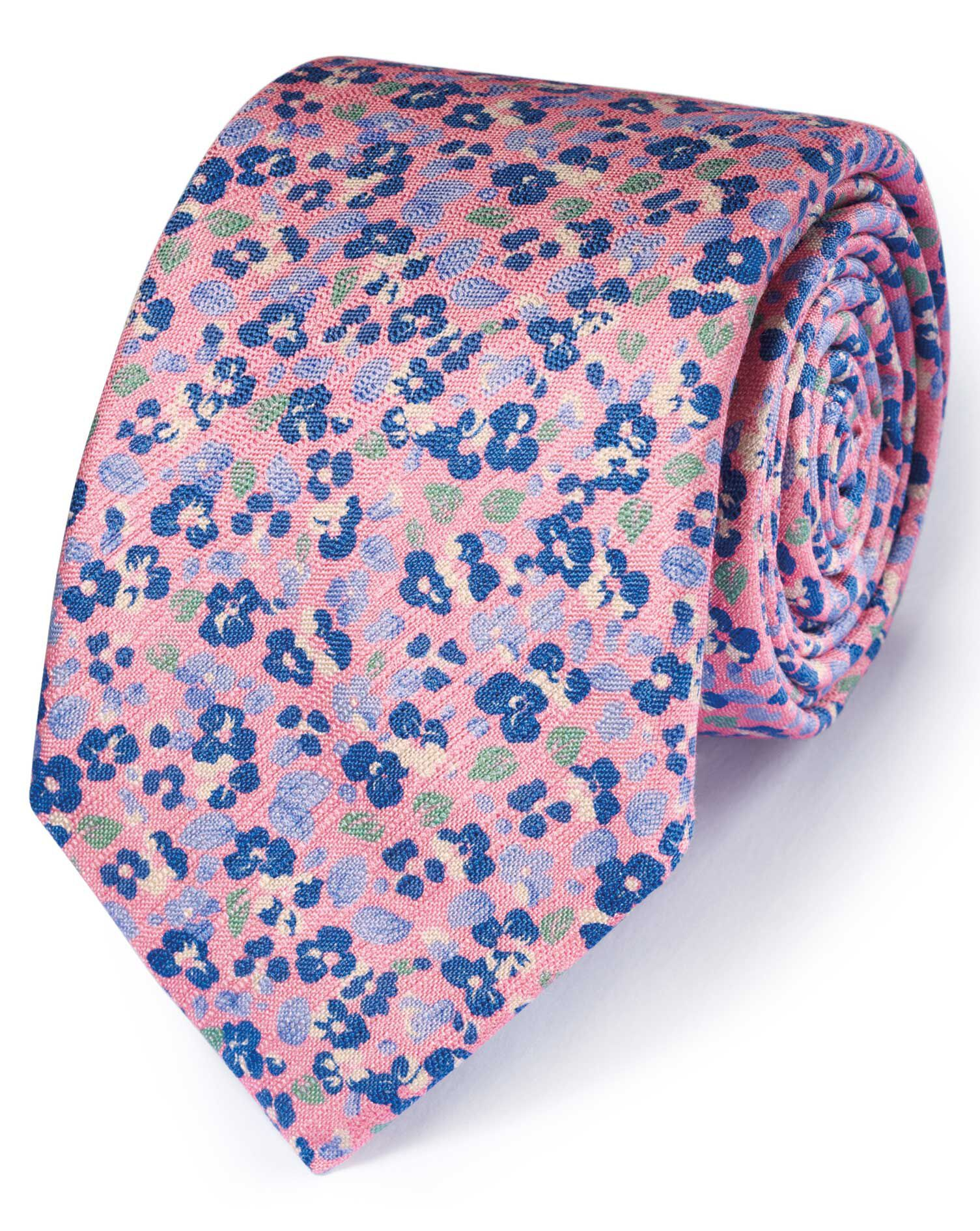 Pink and Blue Cotton Mix Printed Floral Italian Luxury Tie Size OSFA by Charles Tyrwhitt