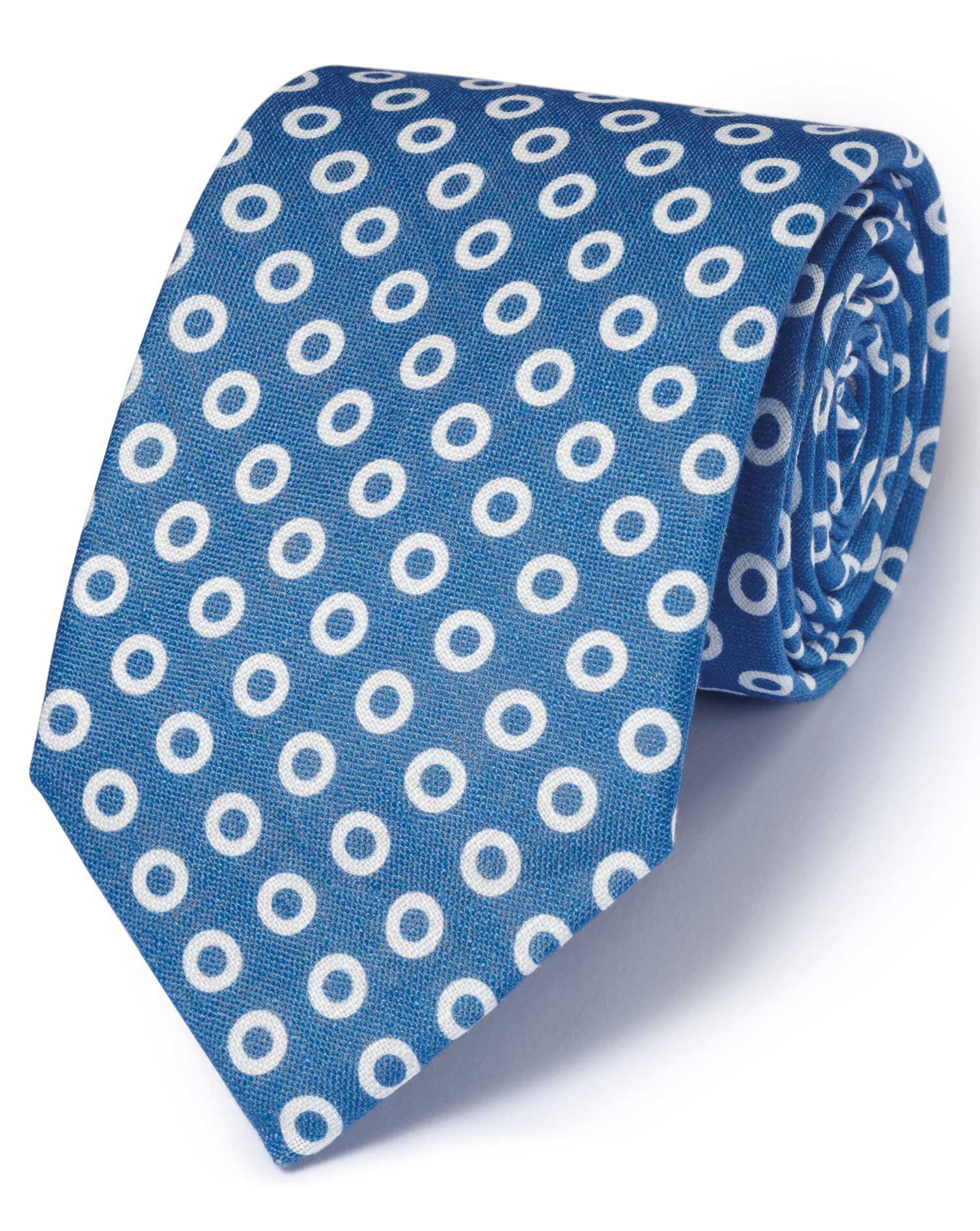 Blue Linen English Luxury Spot Tie Size OSFA by Charles Tyrwhitt