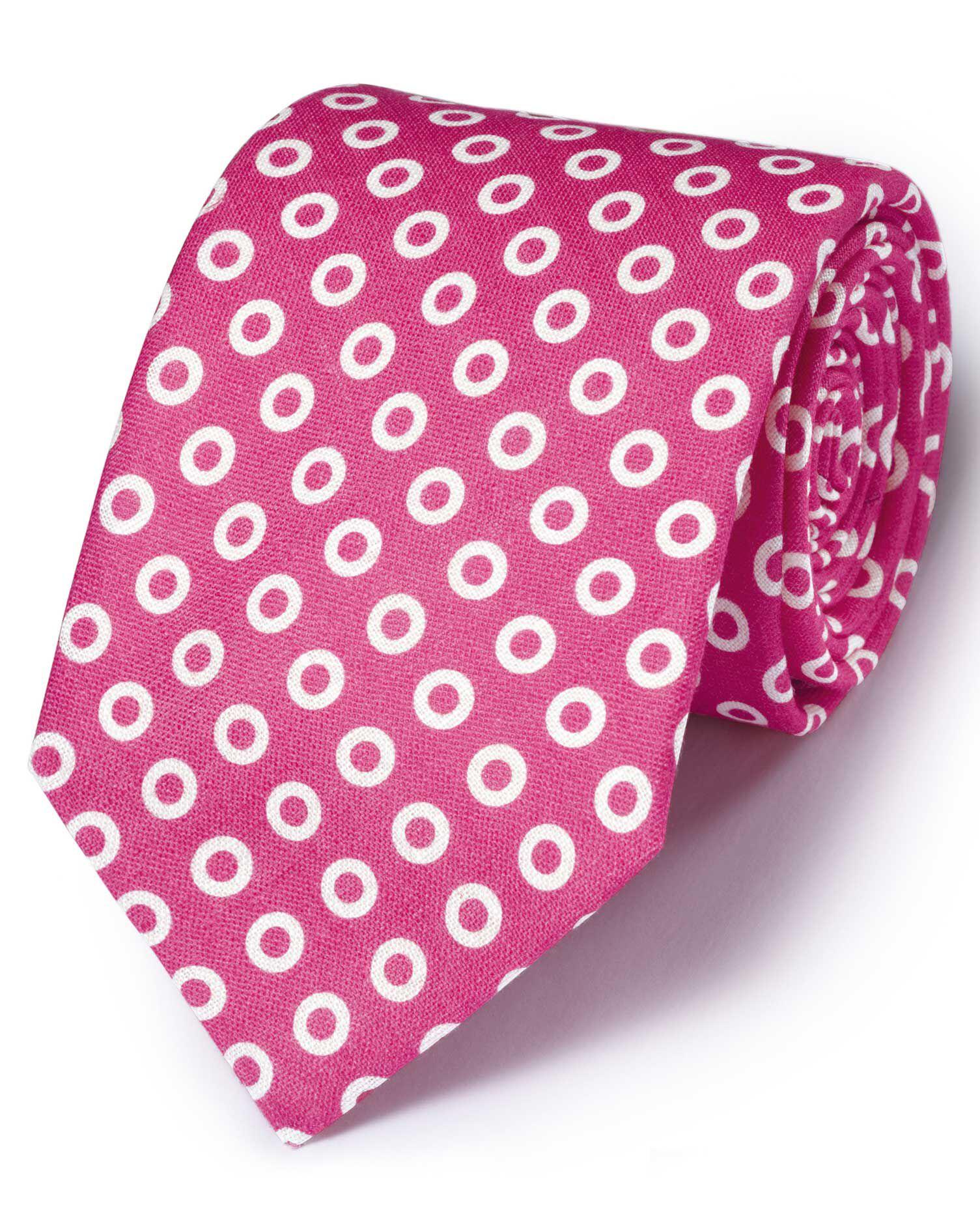 Pink Linen English Luxury Spot Tie Size OSFA by Charles Tyrwhitt
