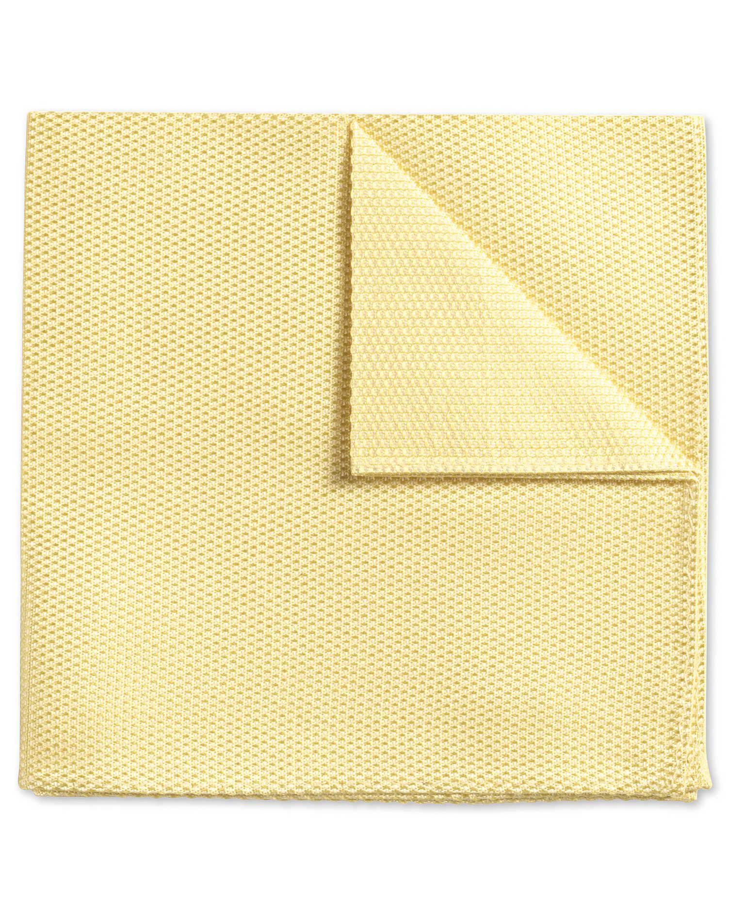 Light Yellow Plain Classic Silk Pocket Square Size OSFA by Charles Tyrwhitt