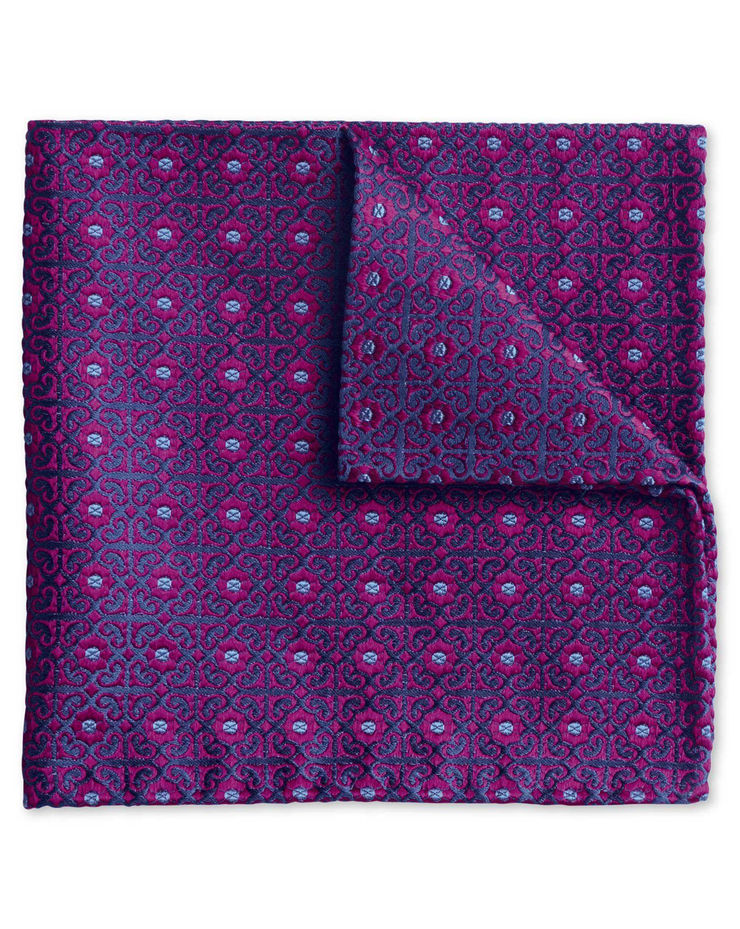 Magenta Geometric English Luxury Silk Pocket Square Size OSFA by Charles Tyrwhitt