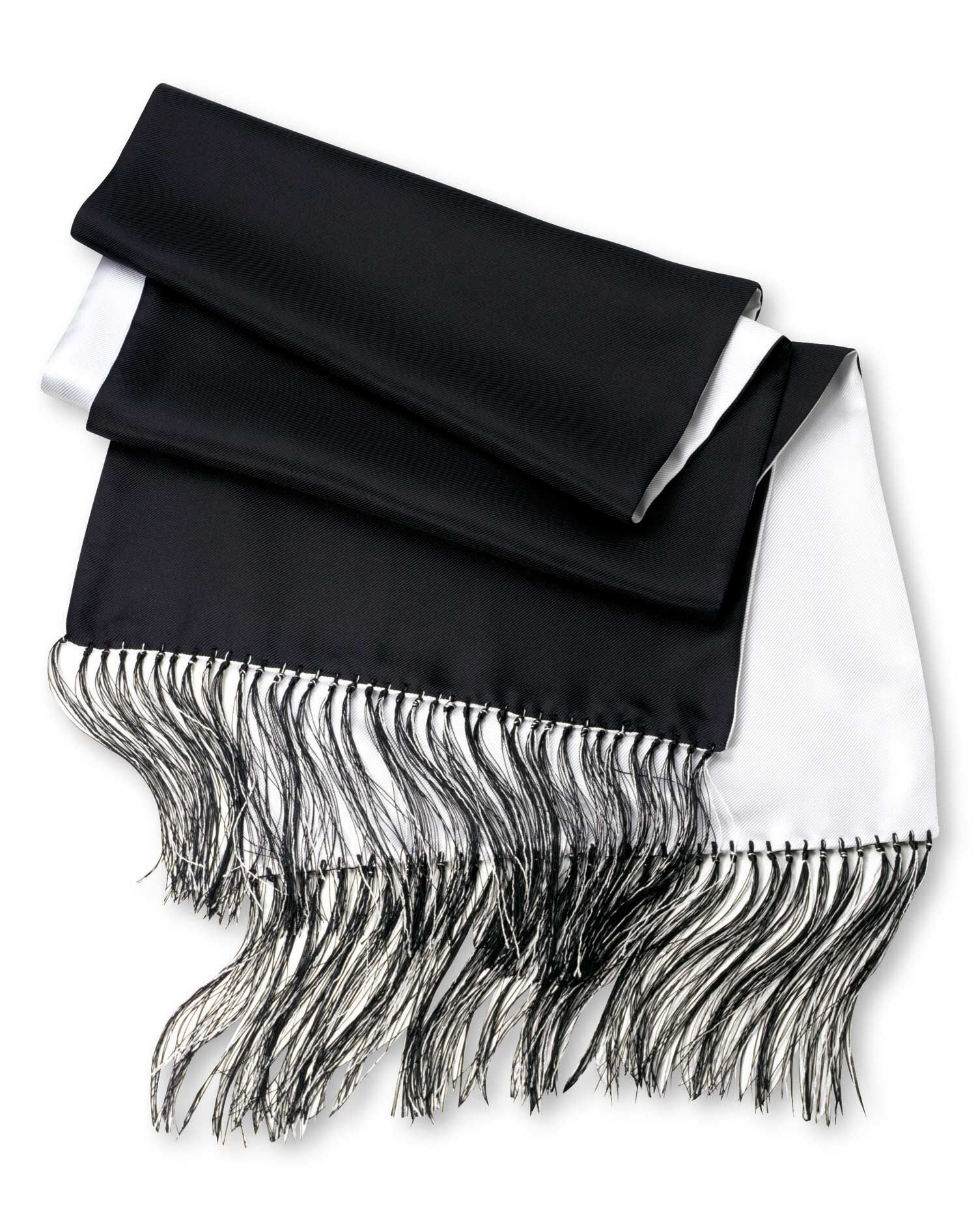 Black and White Reversible Silk Scarf by Charles Tyrwhitt