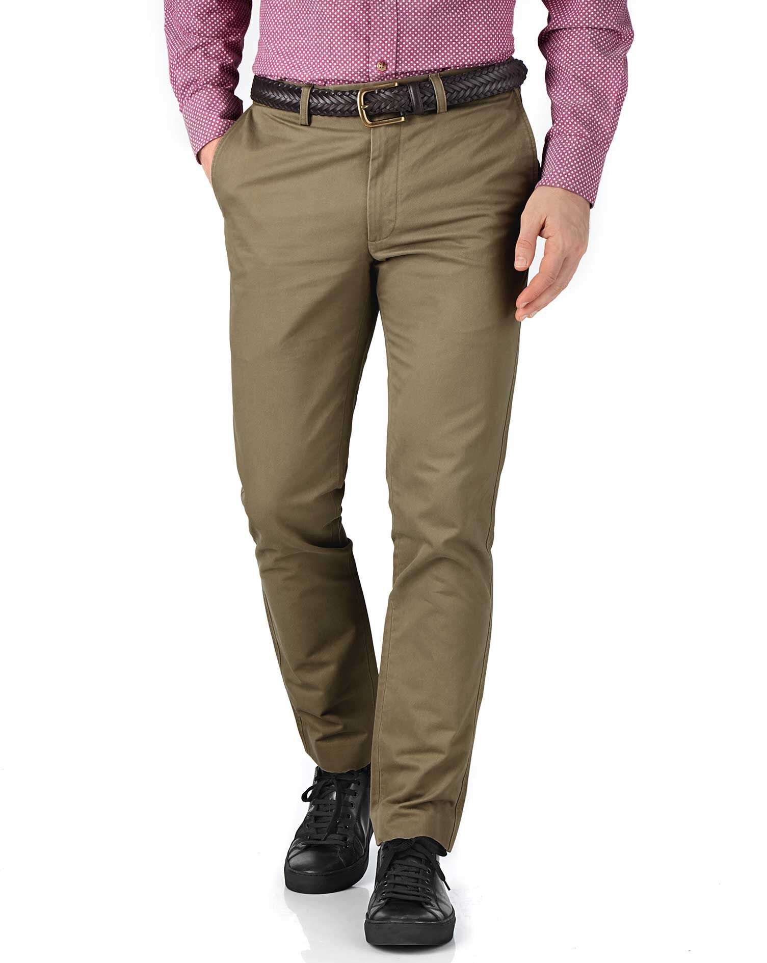 Beige Extra Slim Fit Flat Front Cotton Chino Trousers Size W38 L38 by Charles Tyrwhitt