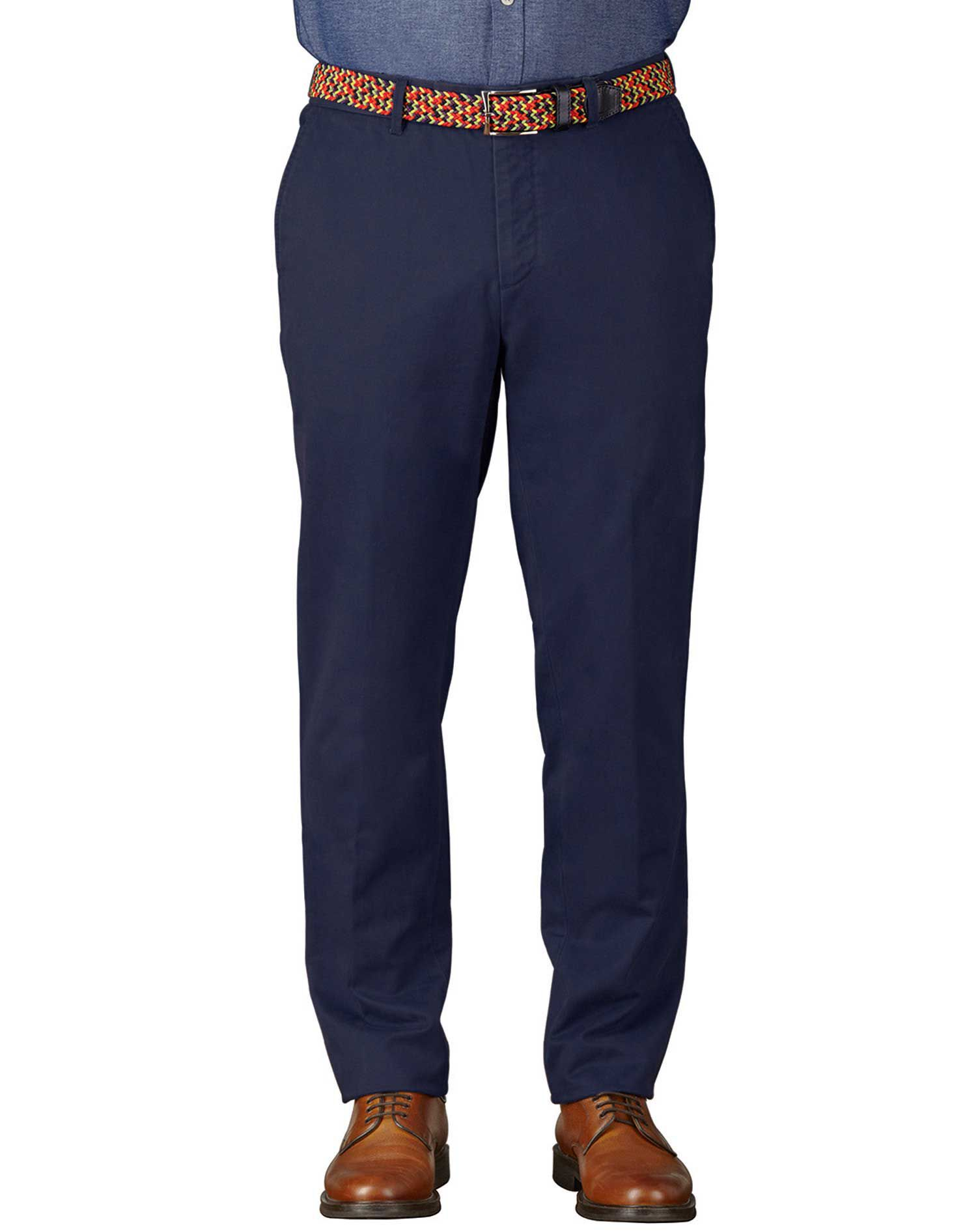Marine Blue Extra Slim Fit Flat Front Cotton Chino Trousers Size W30 L30 by Charles Tyrwhitt
