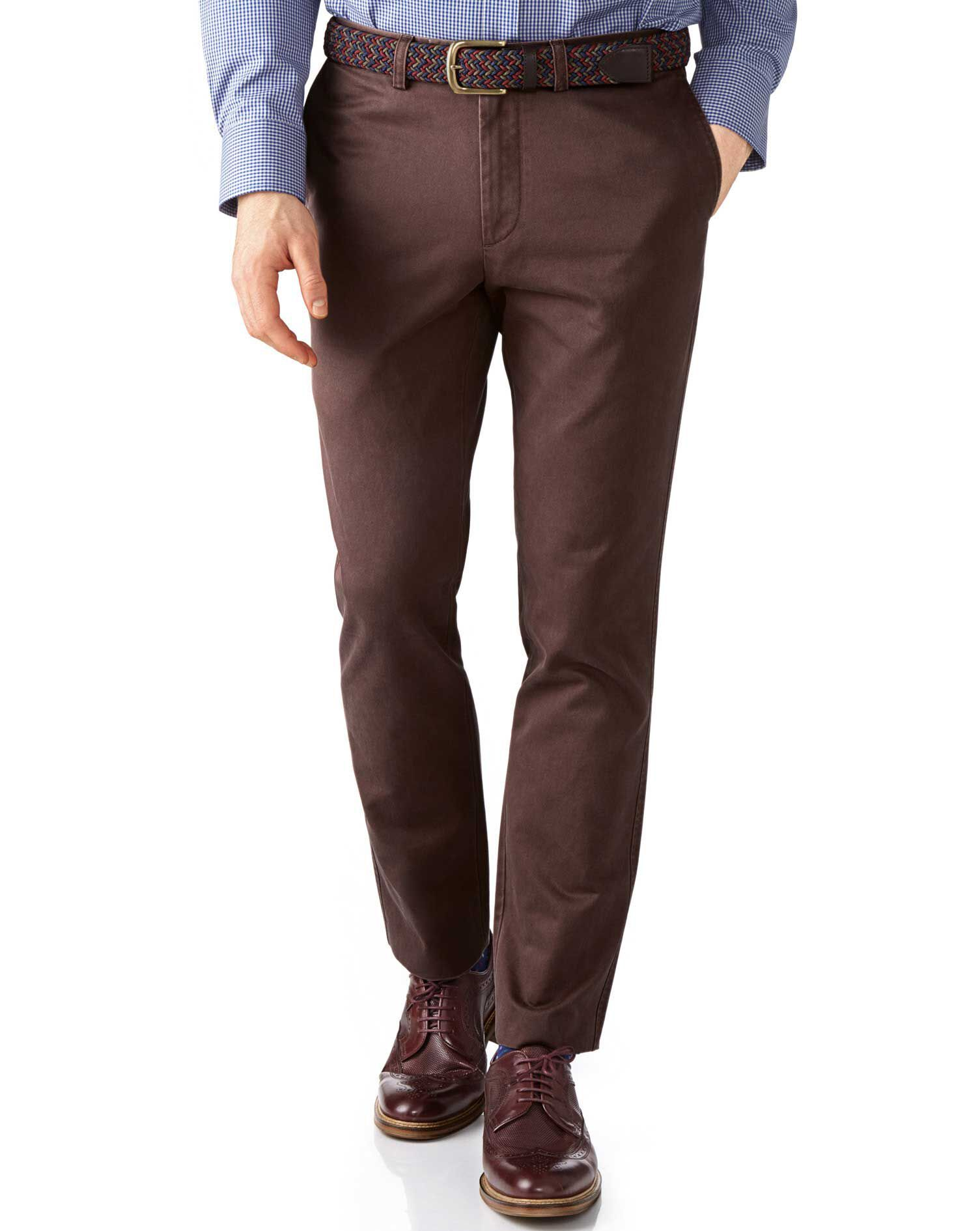 Brown Extra Slim Fit Flat Front Cotton Chino Trousers Size W38 L29 by Charles Tyrwhitt