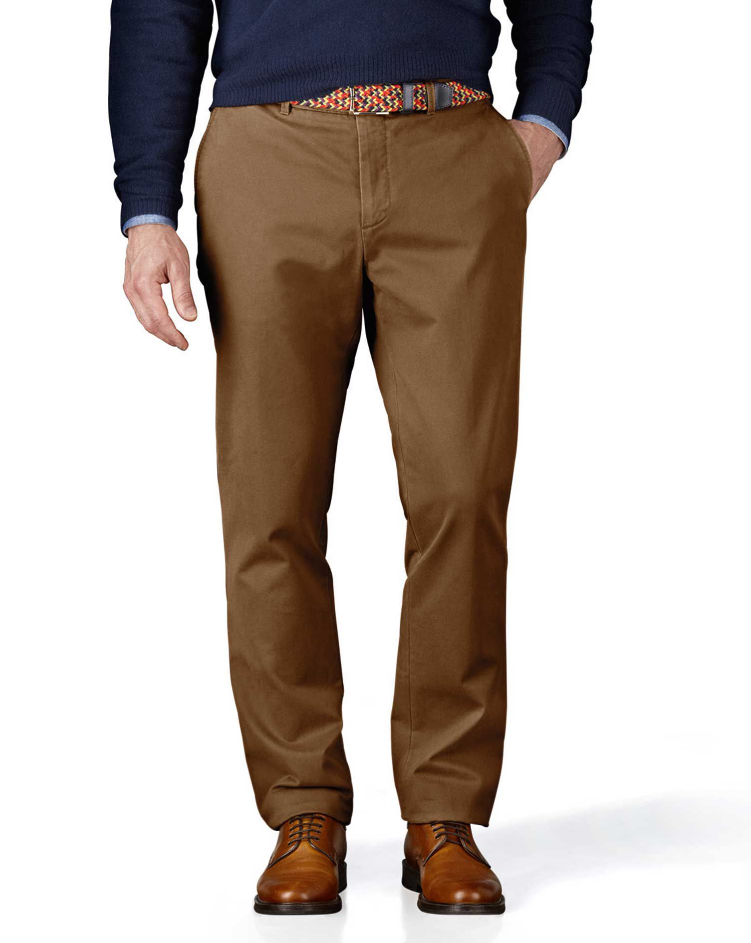 Camel Extra Slim Fit Flat Front Cotton Chino Trousers Size W36 L34 by Charles Tyrwhitt