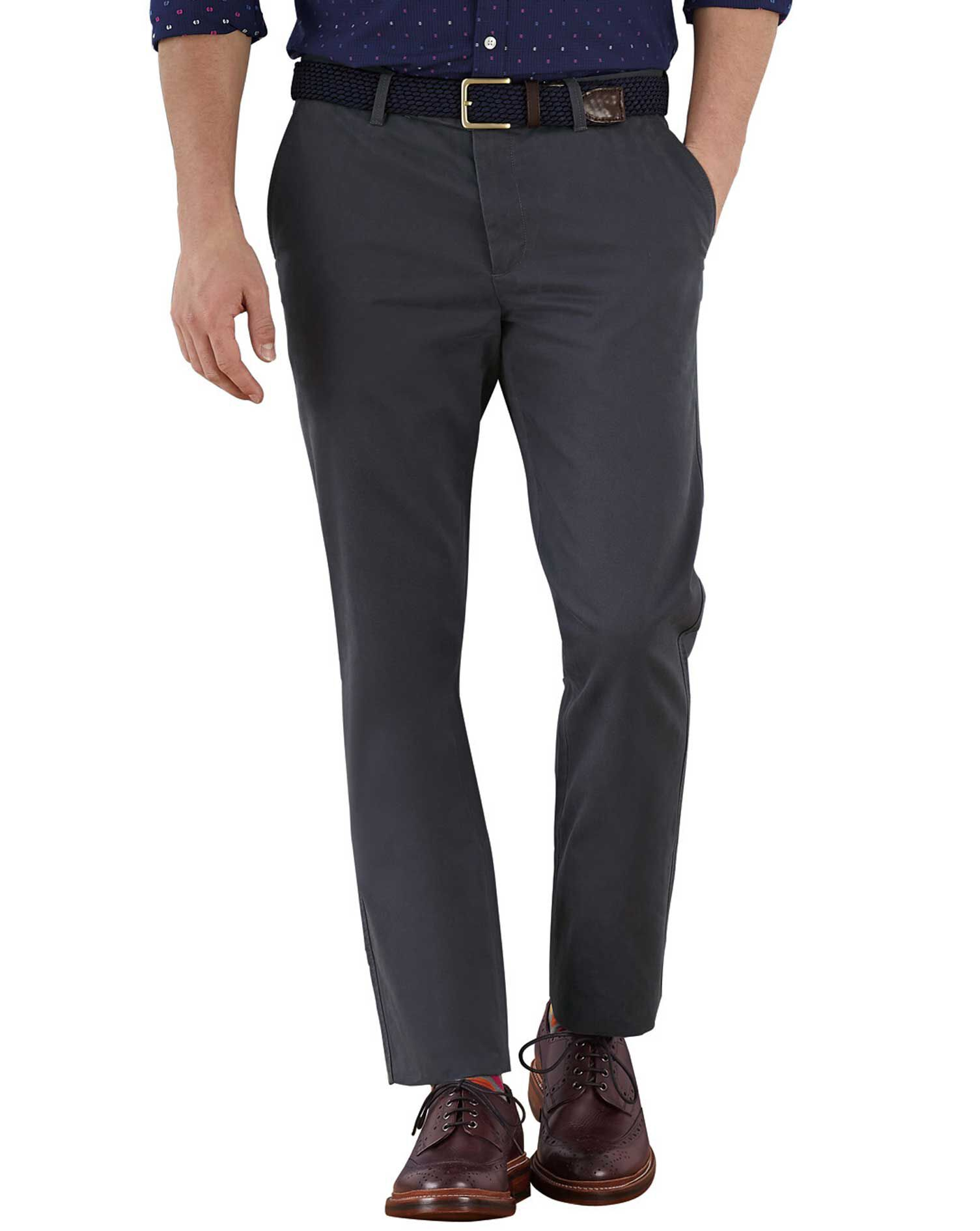 Charcoal Extra Slim Fit Flat Front Cotton Chino Trousers Size W38 L30 by Charles Tyrwhitt
