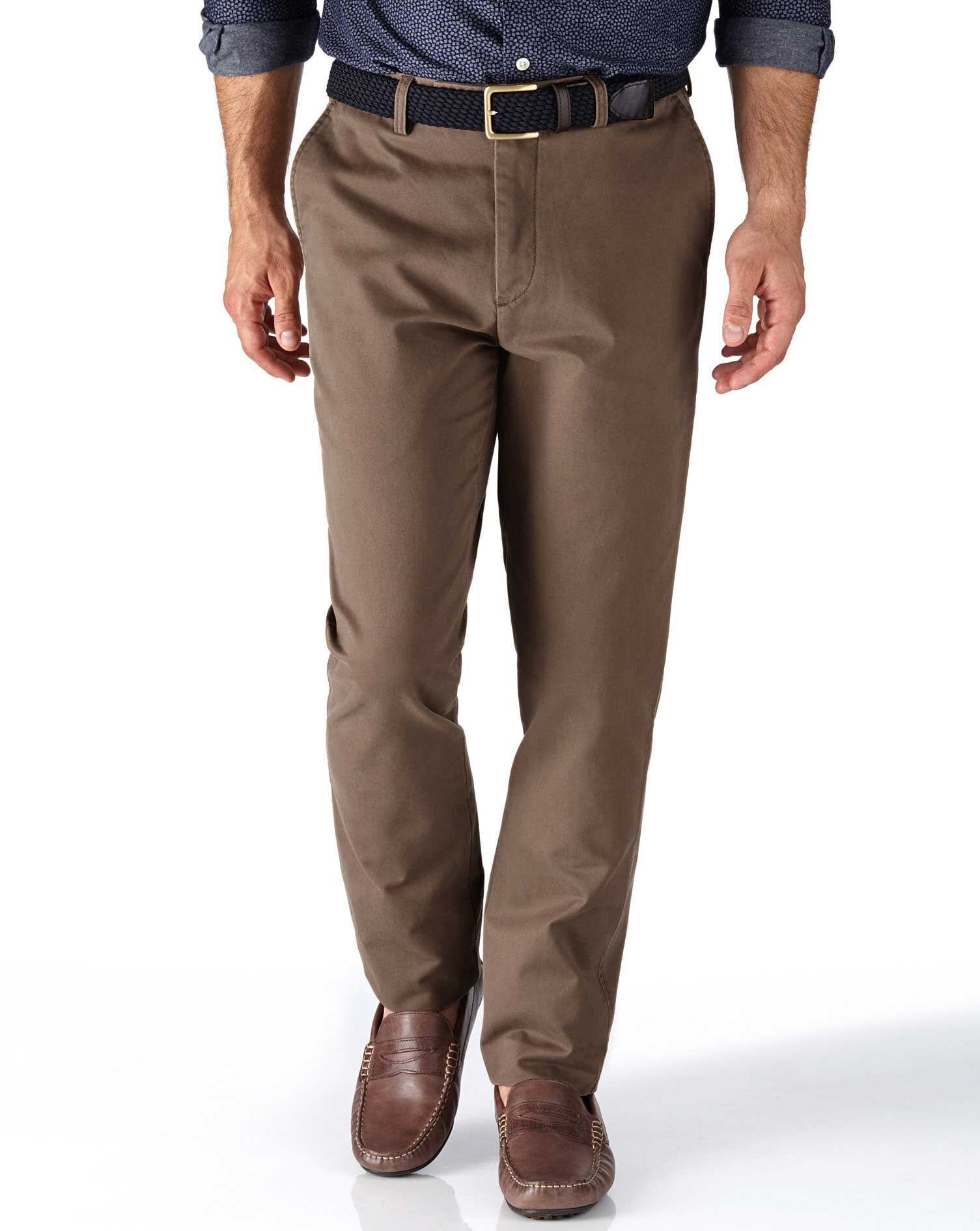 Light Brown Extra Slim Fit Flat Front Cotton Chino Trousers Size W30 L38 by Charles Tyrwhitt