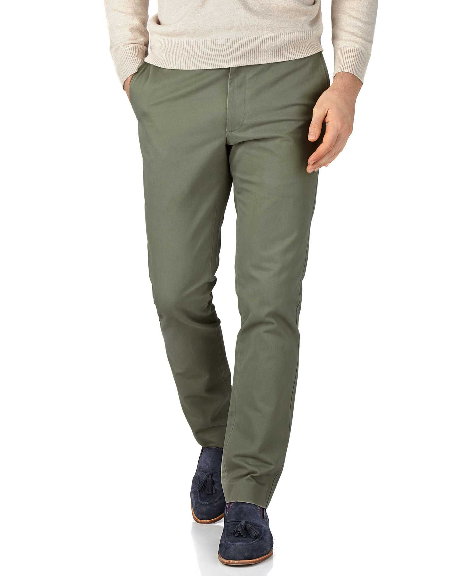 Light Green Extra Slim Fit Flat Front Cotton Chino Trousers Size W34 L29 by Charles Tyrwhitt