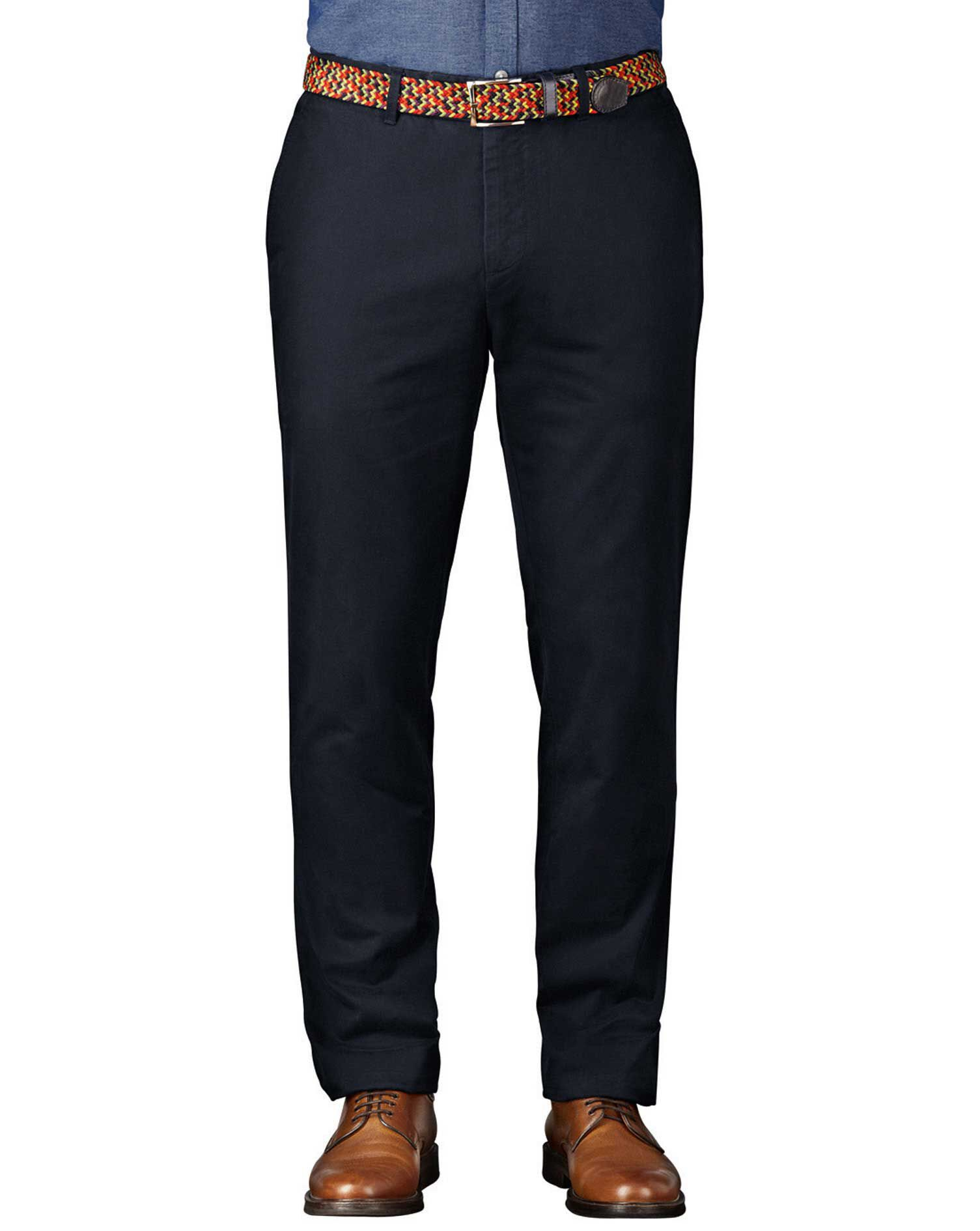 Navy Extra Slim Fit Flat Front Cotton Chino Trousers Size W34 L34 by Charles Tyrwhitt