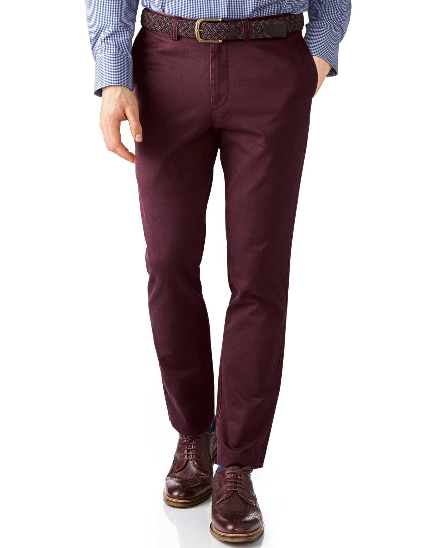 Wine Extra Slim Fit Flat Front Cotton Chino Trousers Size W32 L30 by Charles Tyrwhitt