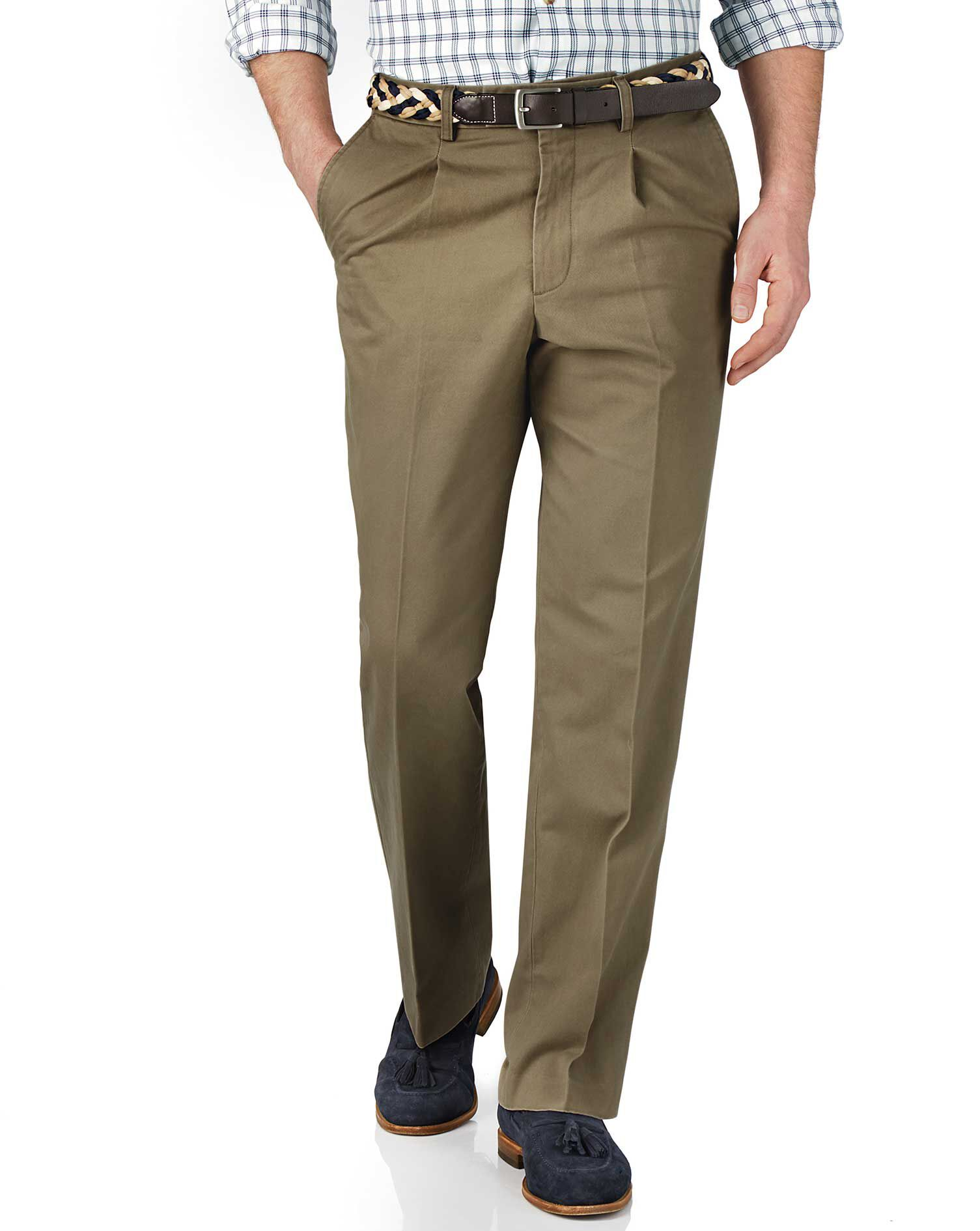 Beige Classic Fit Single Pleat Cotton Chino Trousers Size W32 L34 by Charles Tyrwhitt