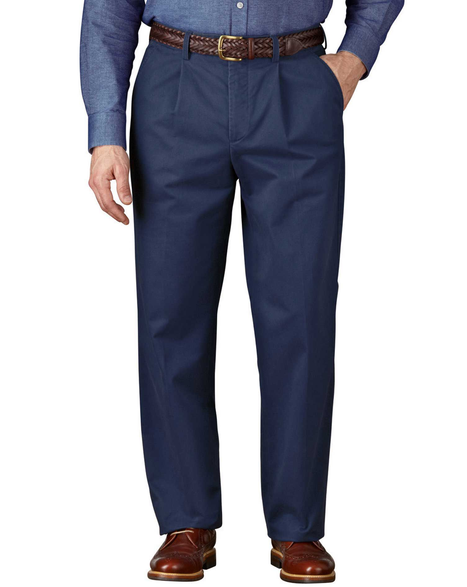 Blue Classic Fit Single Pleat Weekend Cotton Chino Trousers Size W38 L32 by Charles Tyrwhitt