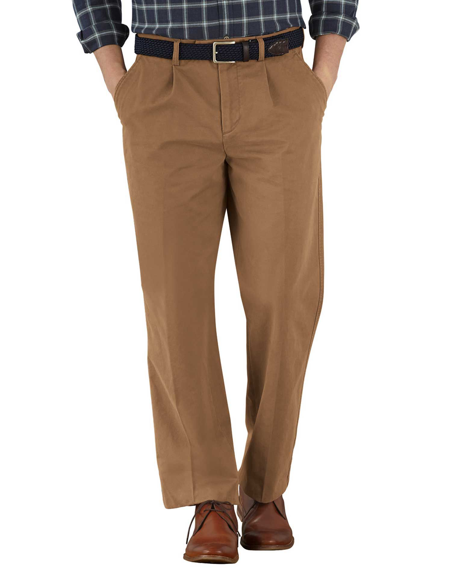 Camel Classic Fit Single Pleat Cotton Chino Trousers Size W32 L34 by Charles Tyrwhitt