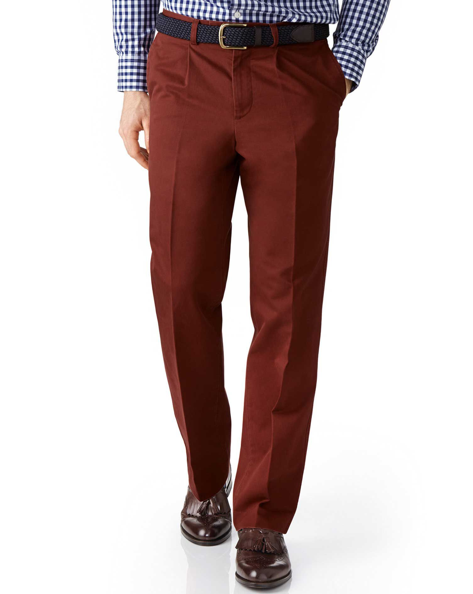 Copper Classic Fit Single Pleat Cotton Chino Trousers Size W32 L38 by Charles Tyrwhitt