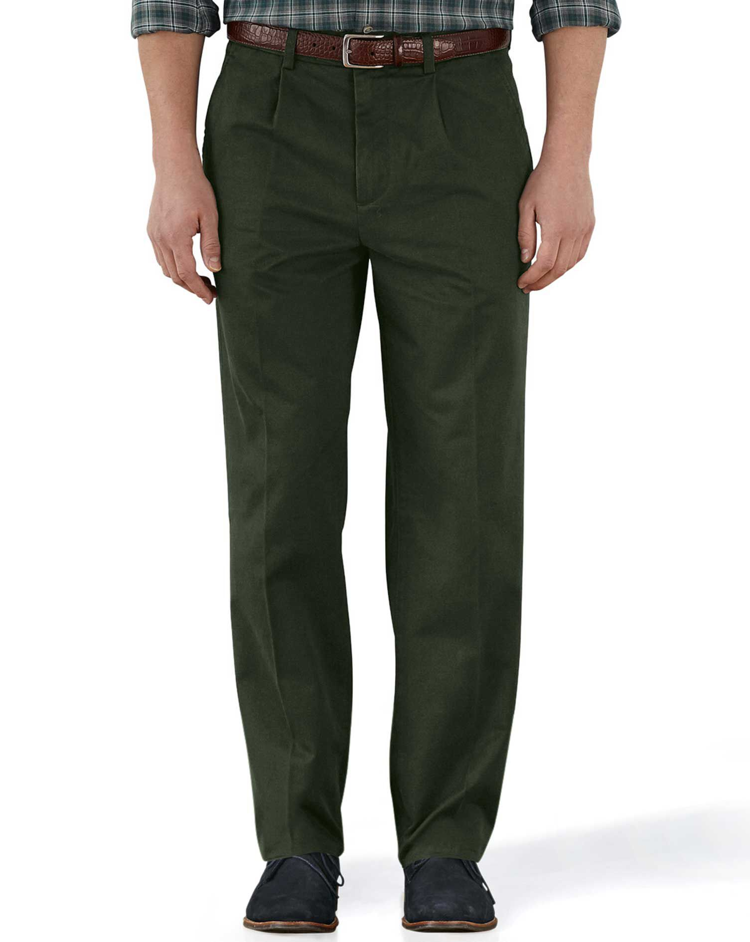 Dark Green Classic Fit Single Pleat Weekend Cotton Chino Trousers Size W32 L38 by Charles Tyrwhitt