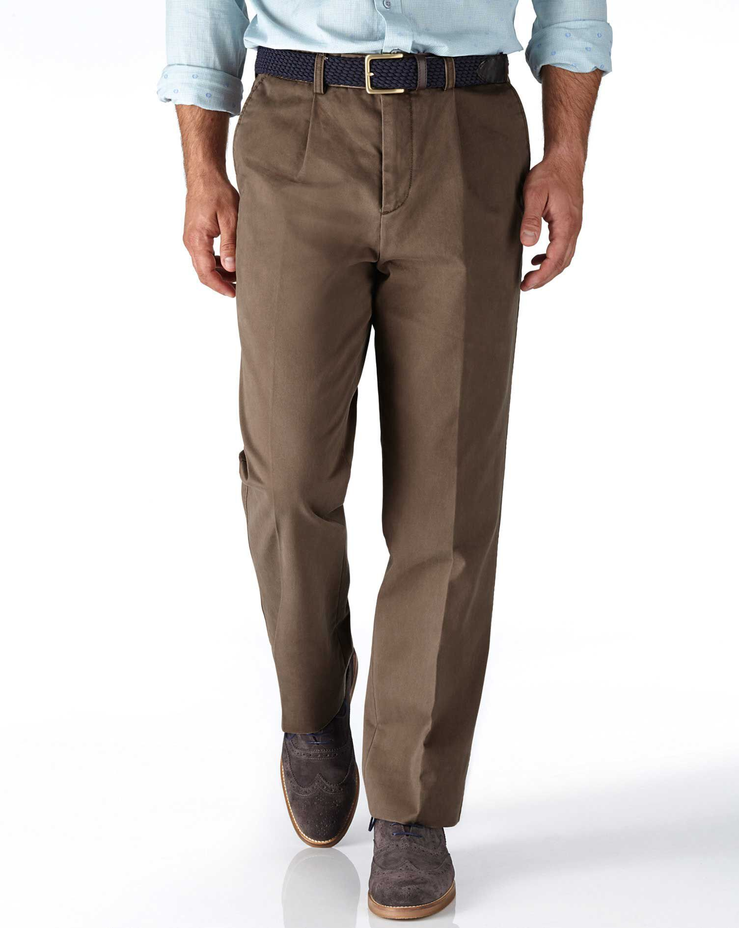 Light Brown Classic Fit Single Pleat Cotton Chino Trousers Size W34 L32 by Charles Tyrwhitt