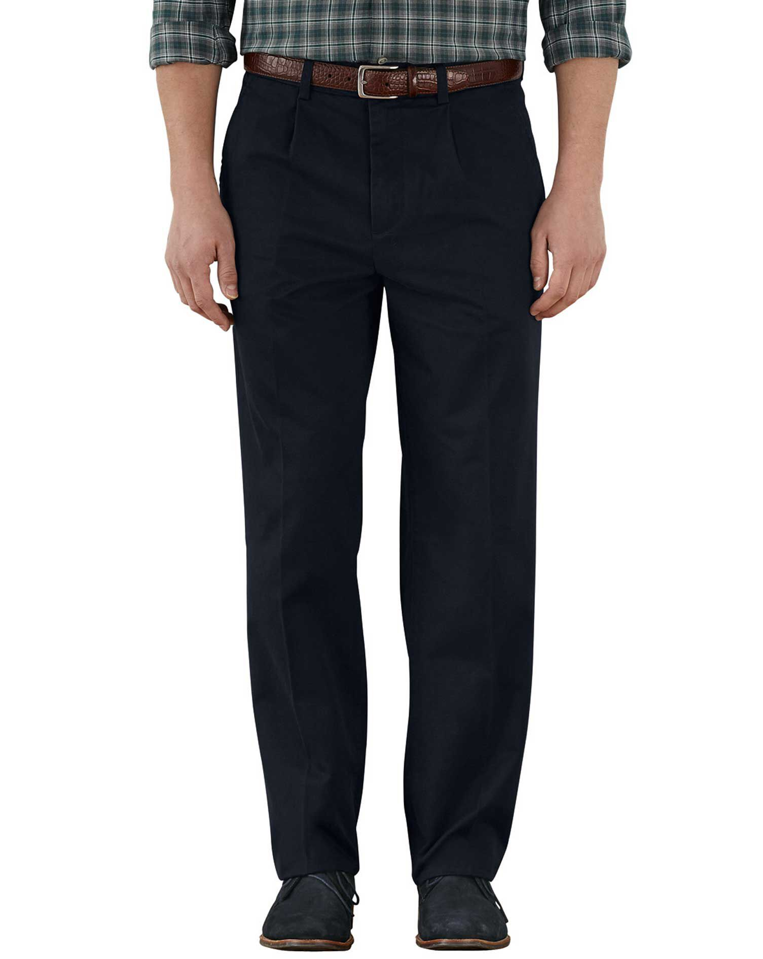 Navy Classic Fit Single Pleat Weekend Cotton Chino Trousers Size W30 L38 by Charles Tyrwhitt
