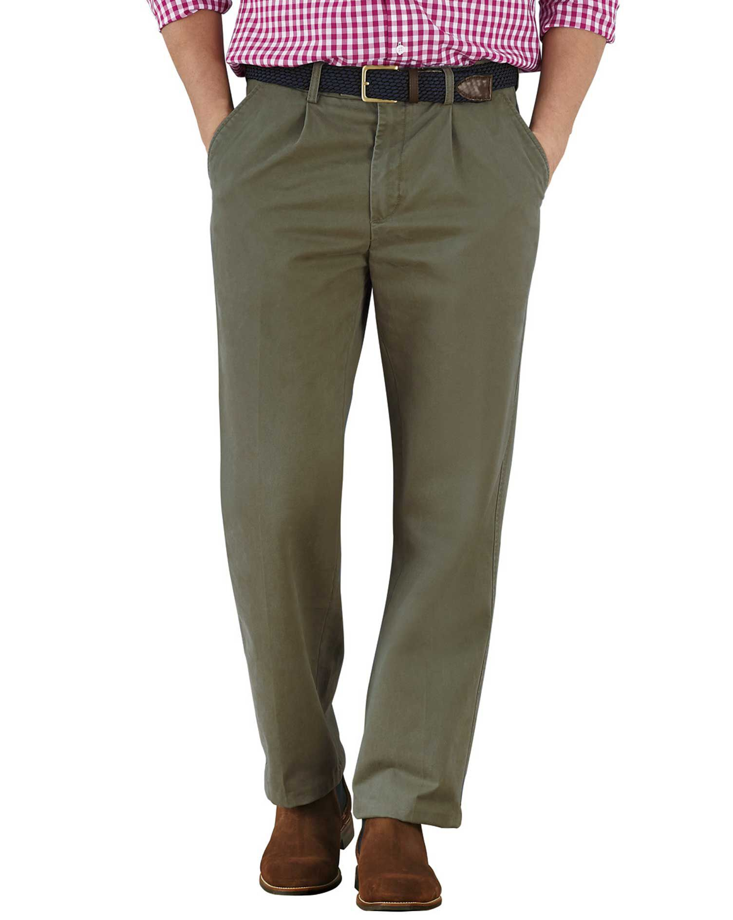 Olive Classic Fit Single Pleat Cotton Chino Trousers Size W38 L30 by Charles Tyrwhitt