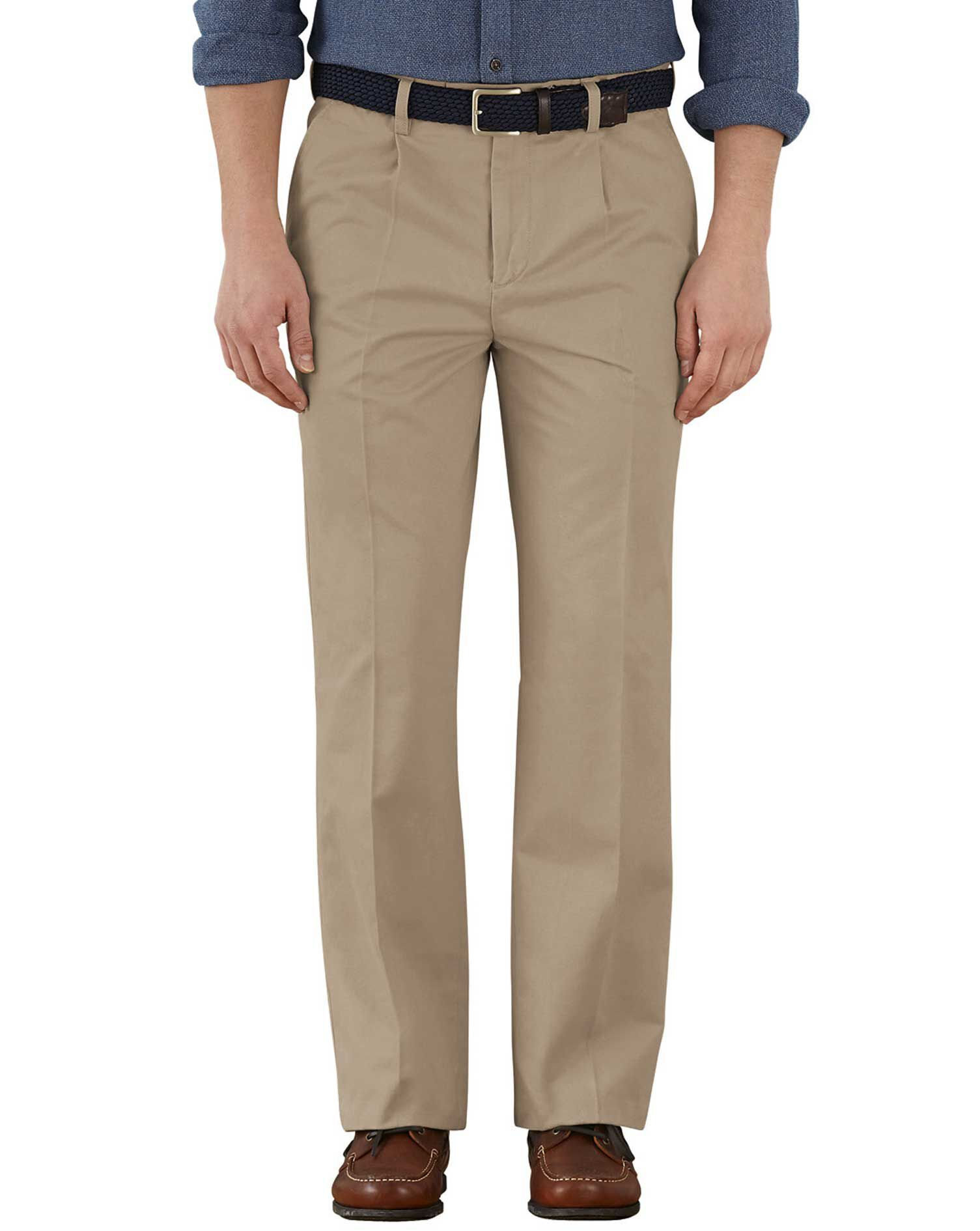 Stone Classic Fit Single Pleat Weekend Cotton Chino Trousers Size W32 L29 by Charles Tyrwhitt