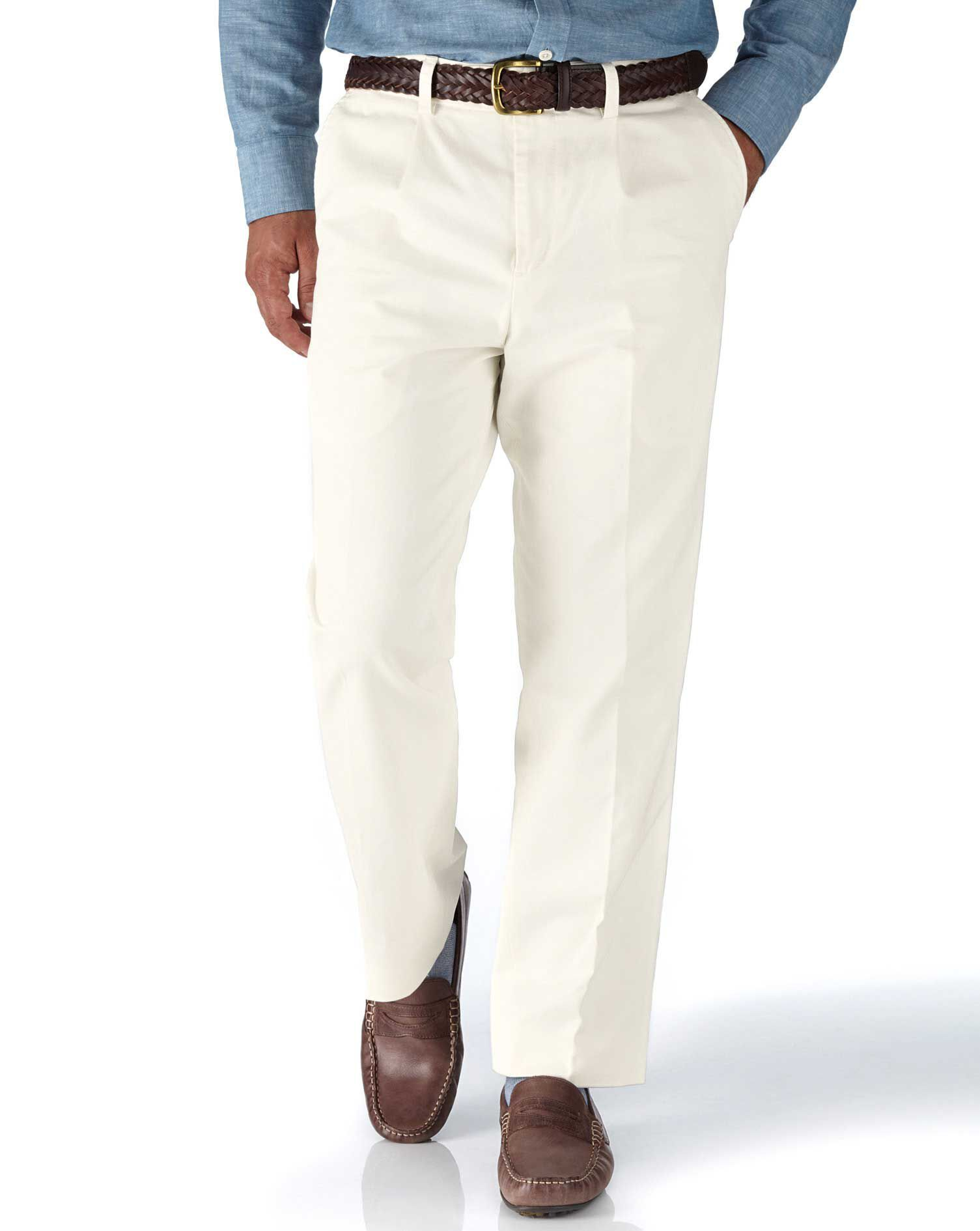 White Classic Fit Single Pleat Weekend Cotton Chino Trousers Size W36 L30 by Charles Tyrwhitt