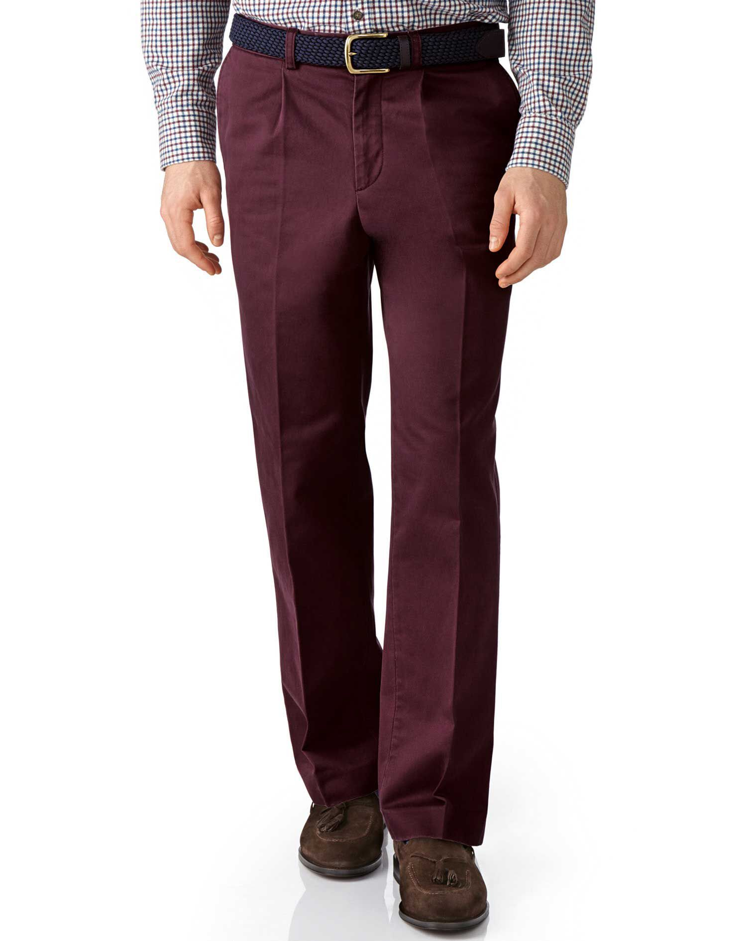Wine Classic Fit Single Pleat Cotton Chino Trousers Size W32 L34 by Charles Tyrwhitt