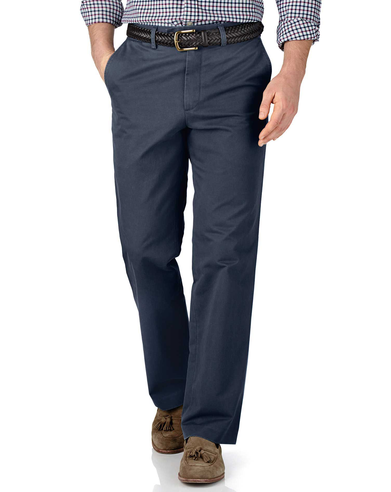 Airforce Blue Classic Fit Flat Front Cotton Chino Trousers Size W32 L30 by Charles Tyrwhitt
