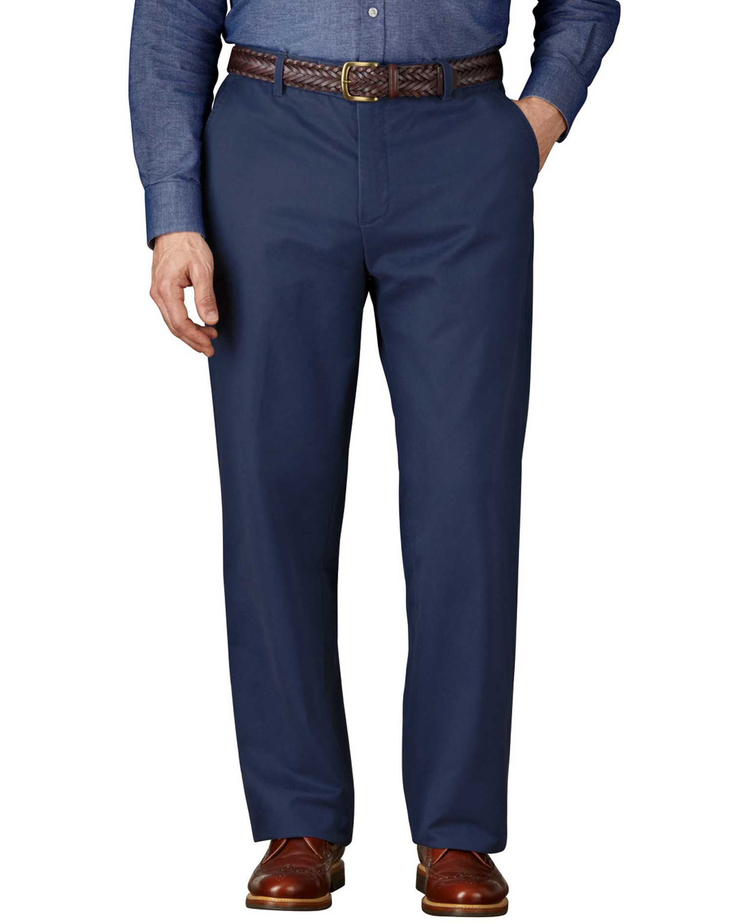 Blue Classic Fit Flat Front Weekend Cotton Chino Trousers Size W42 L34 by Charles Tyrwhitt