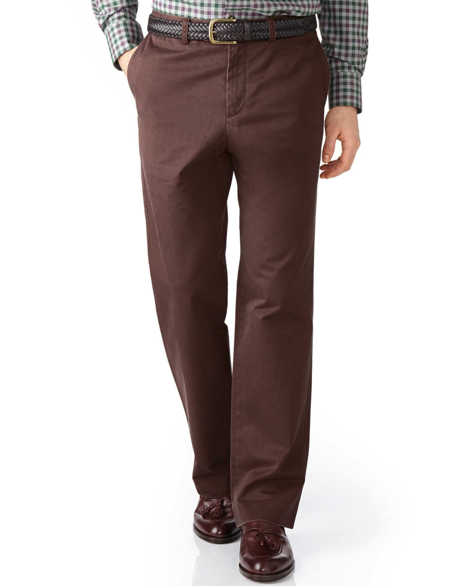 Brown Classic Fit Flat Front Cotton Chino Trousers Size W42 L30 by Charles Tyrwhitt