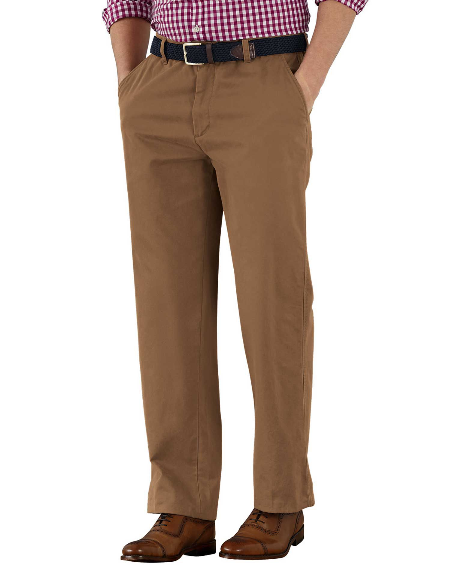 Camel Classic Fit Flat Front Cotton Chino Trousers Size W40 L32 by Charles Tyrwhitt