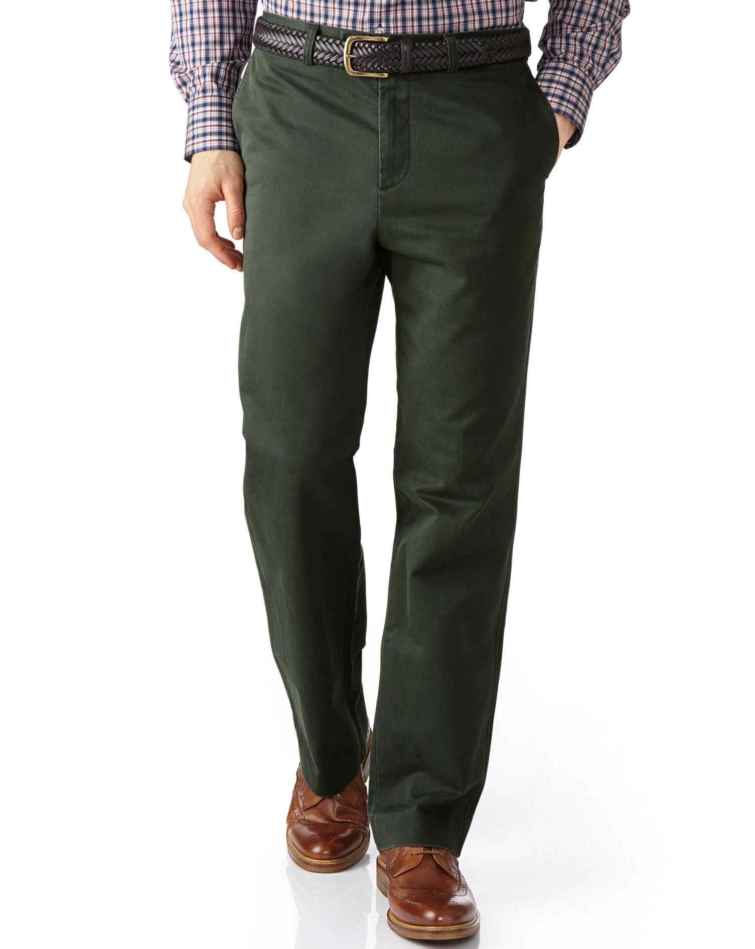 Dark Green Classic Fit Flat Front Weekend Cotton Chino Trousers Size W40 L30 by Charles Tyrwhitt