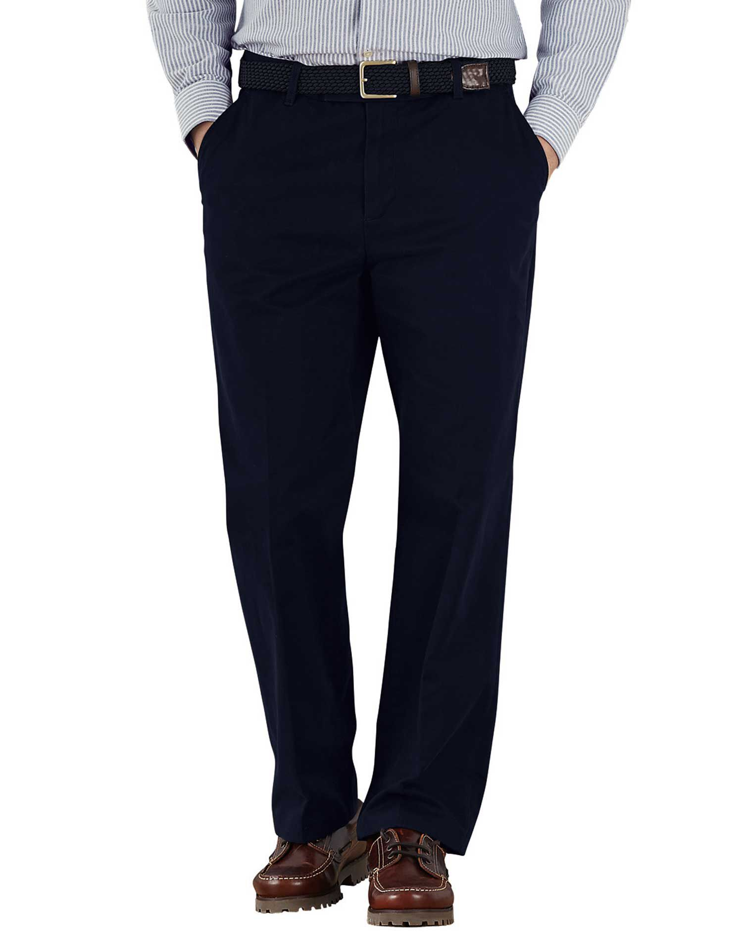 Navy Classic Fit Flat Front Weekend Cotton Chino Trousers Size W40 L29 by Charles Tyrwhitt