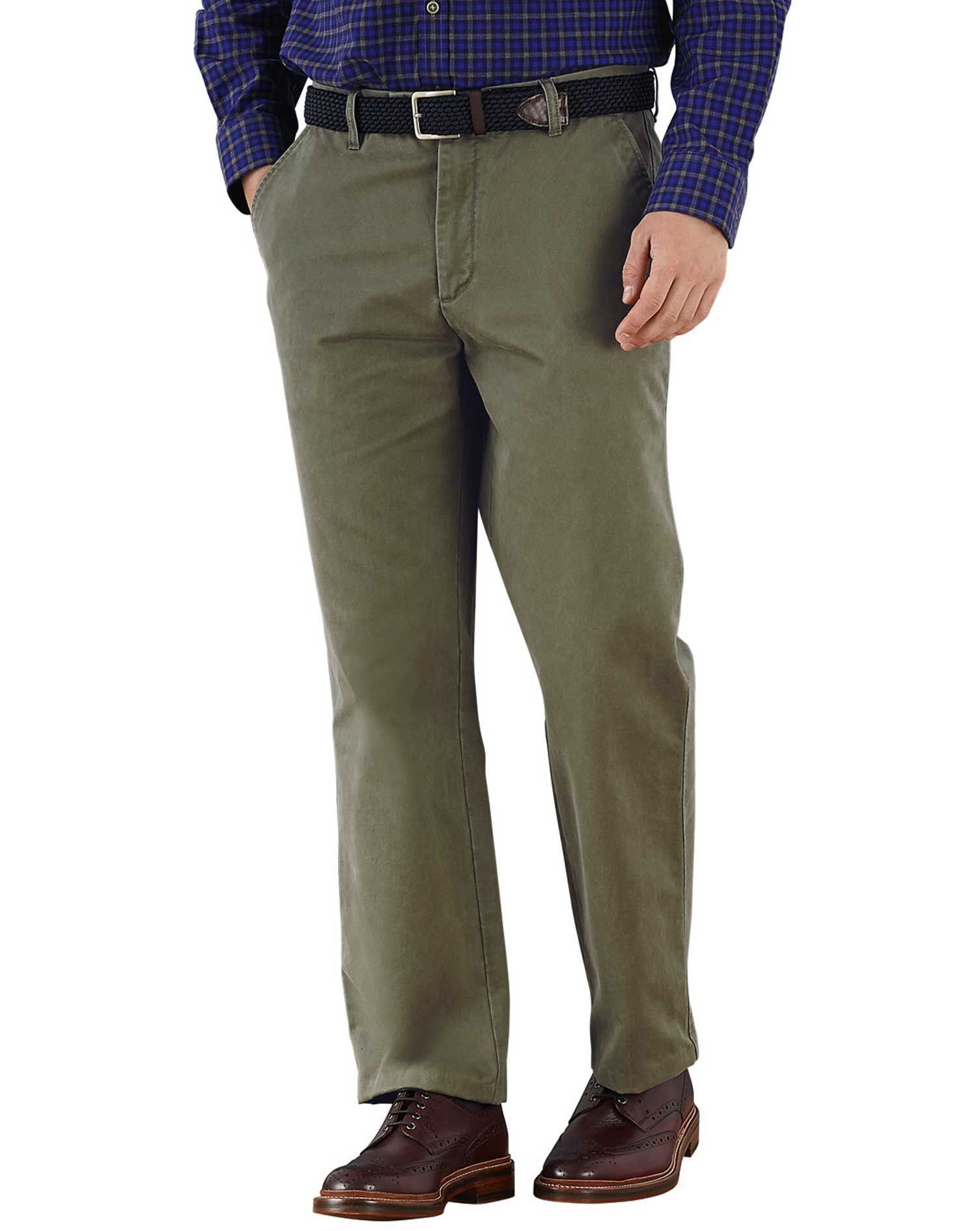 Olive Classic Fit Flat Front Cotton Chino Trousers Size W34 L29 by Charles Tyrwhitt
