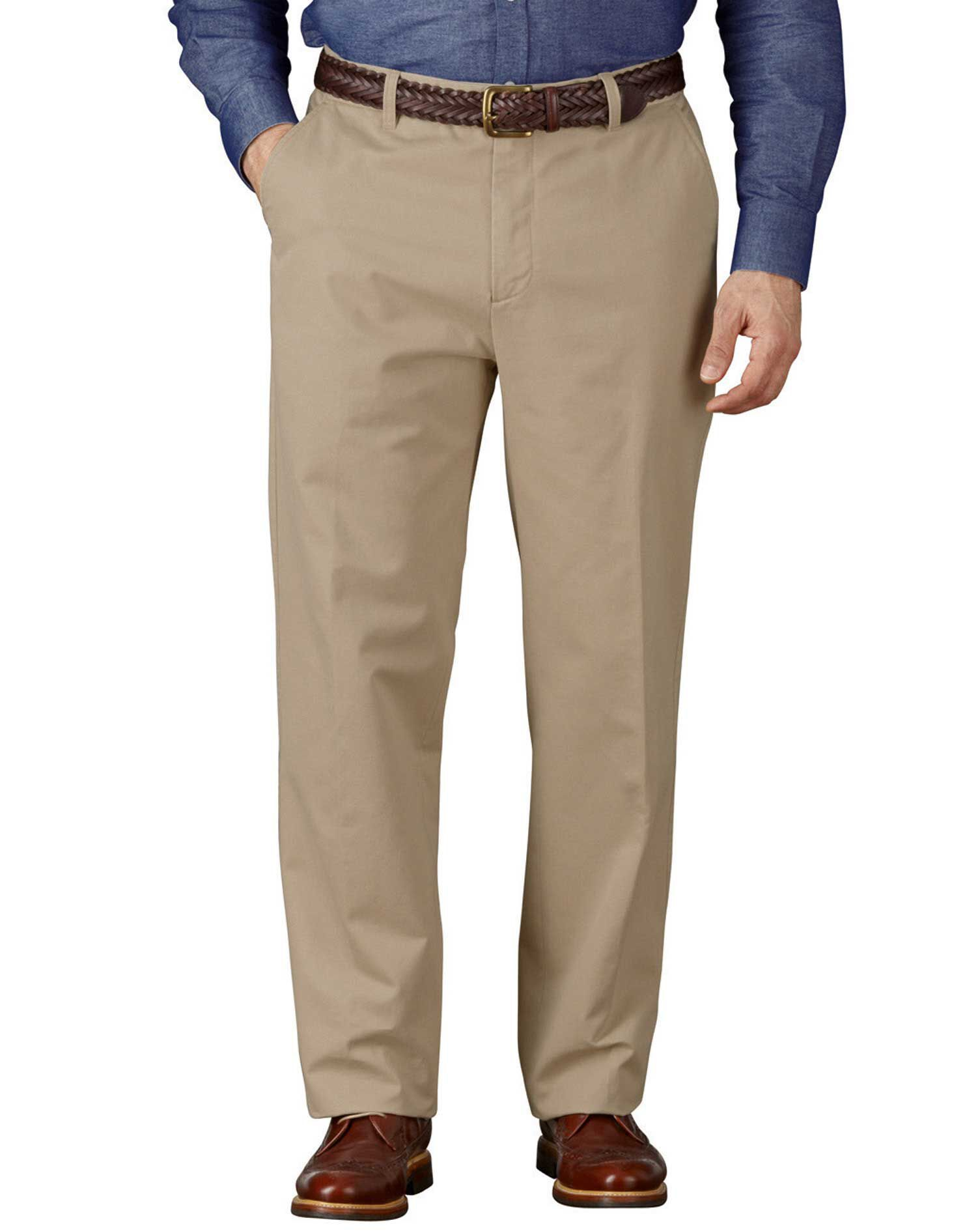 Stone Classic Fit Flat Front Weekend Cotton Chino Trousers Size W38 L30 by Charles Tyrwhitt
