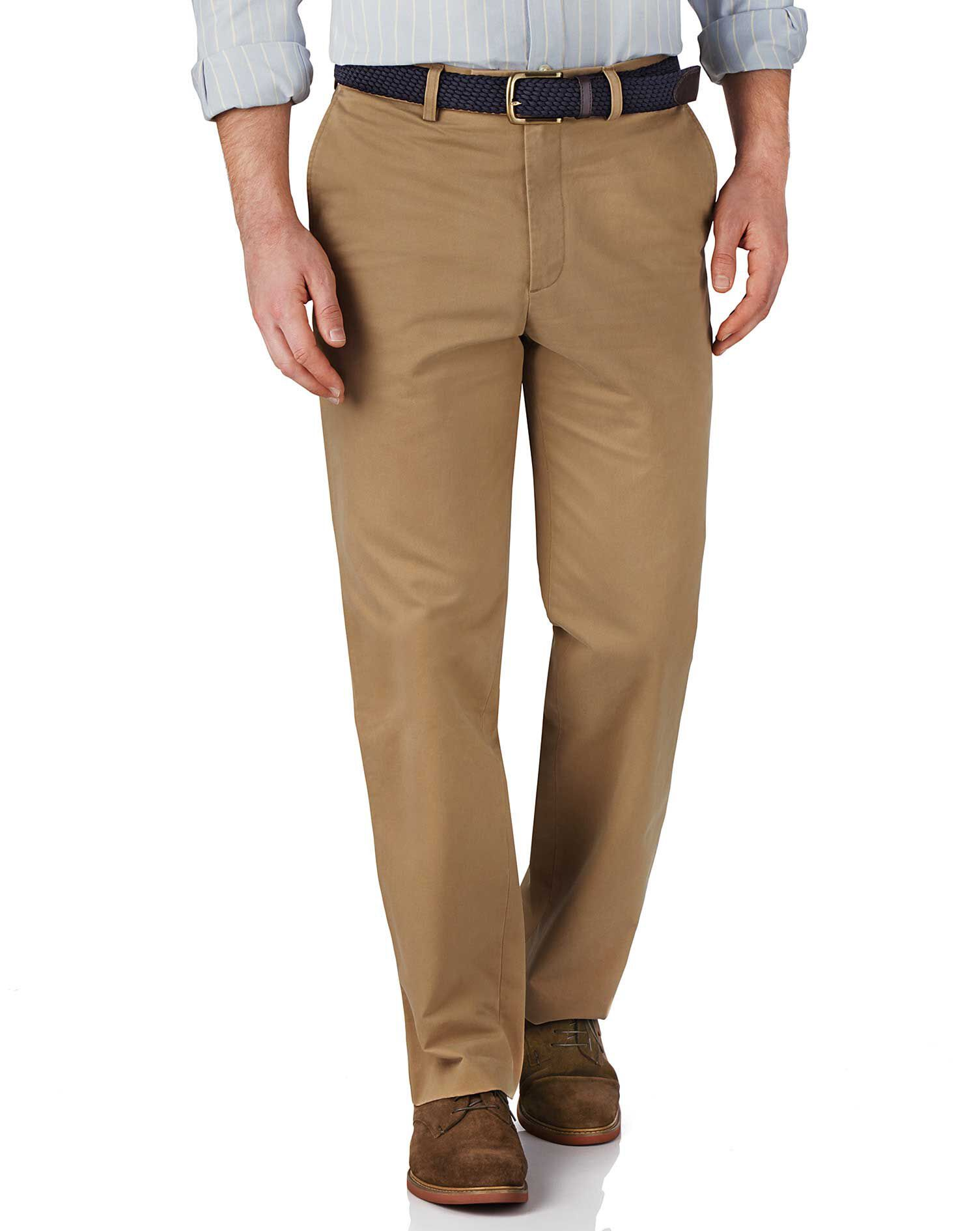 Tan Classic Fit Flat Front Weekend Cotton Chino Trousers Size W32 L38 by Charles Tyrwhitt