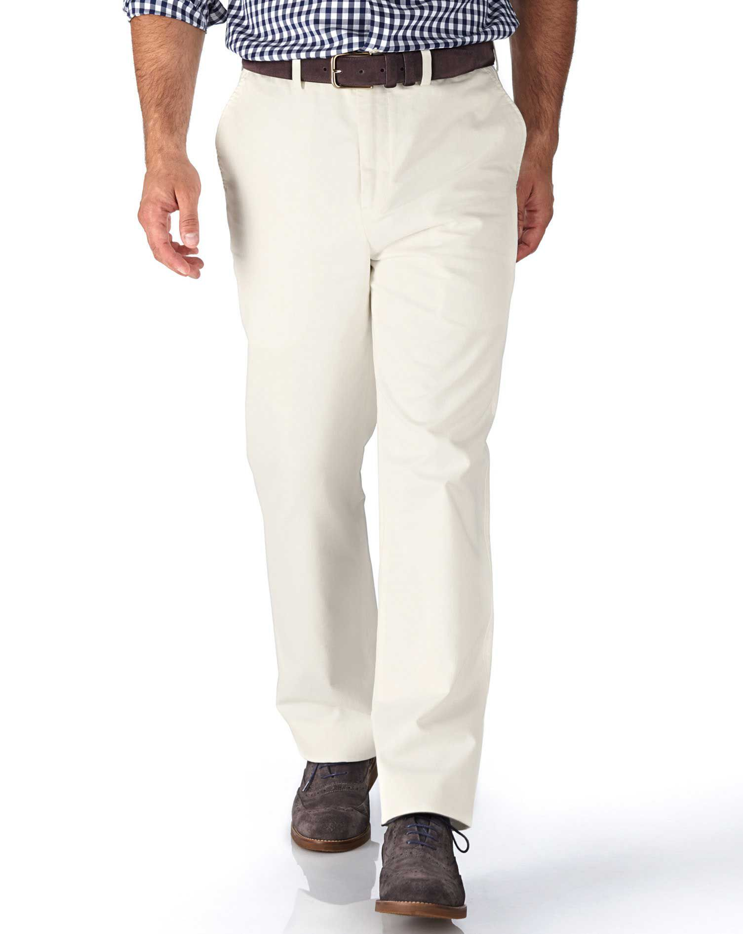White Classic Fit Flat Front Weekend Cotton Chino Trousers Size W34 L30 by Charles Tyrwhitt