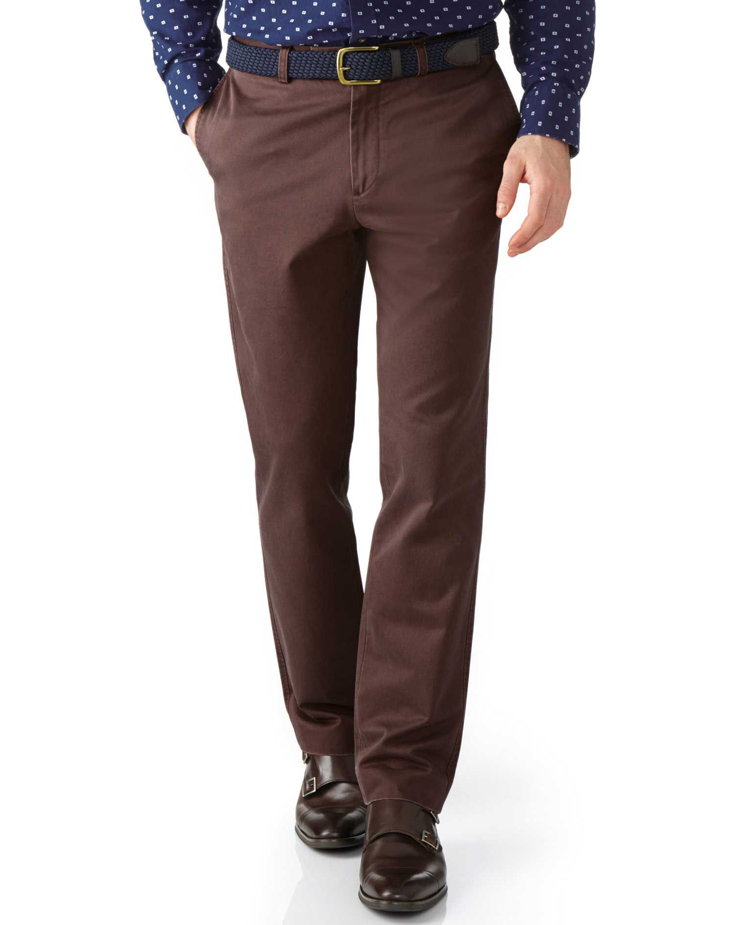 Brown Slim Fit Flat Front Cotton Chino Trousers Size W42 L34 by Charles Tyrwhitt