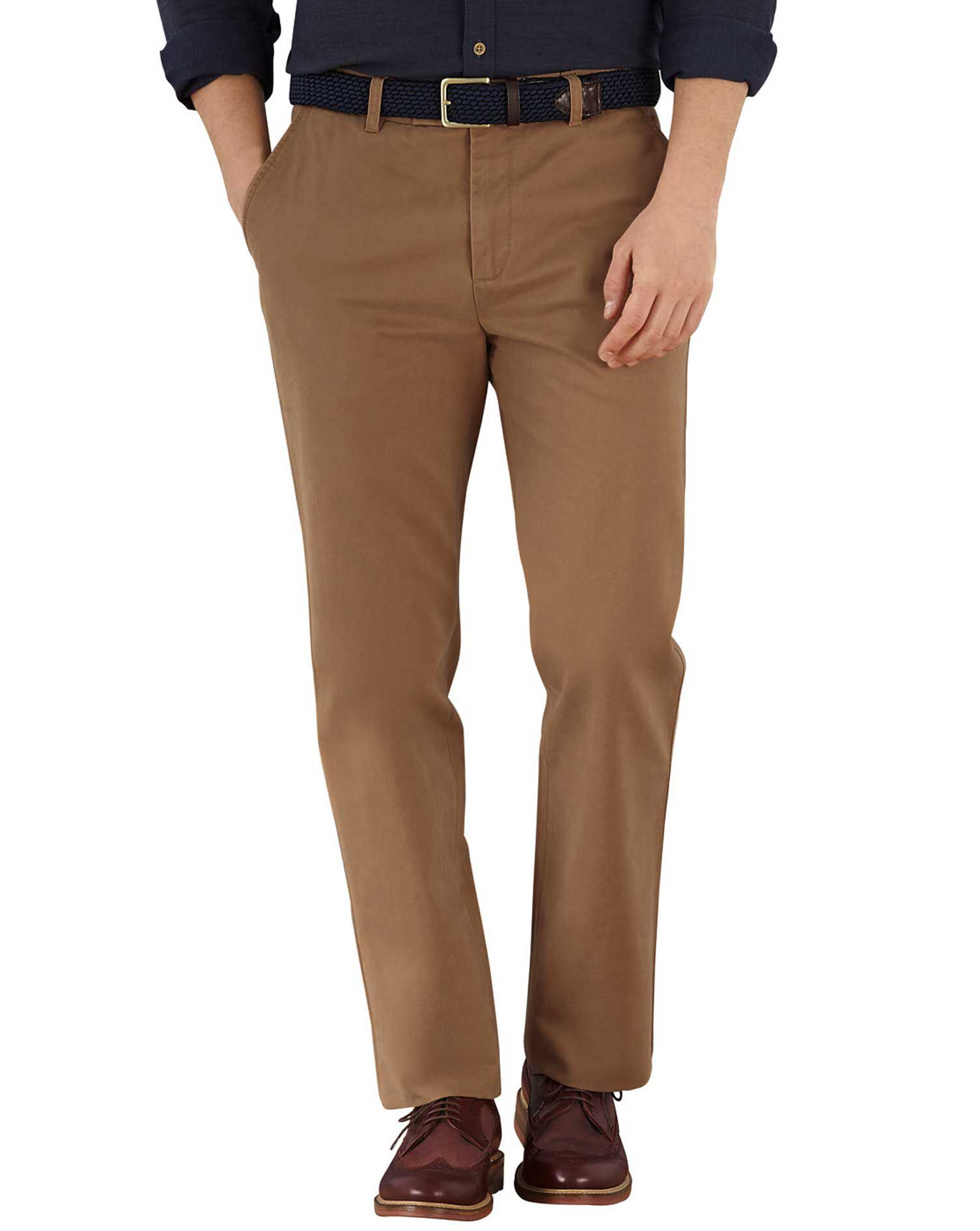 Camel Slim Fit Flat Front Cotton Chino Trousers Size W32 L34 by Charles Tyrwhitt