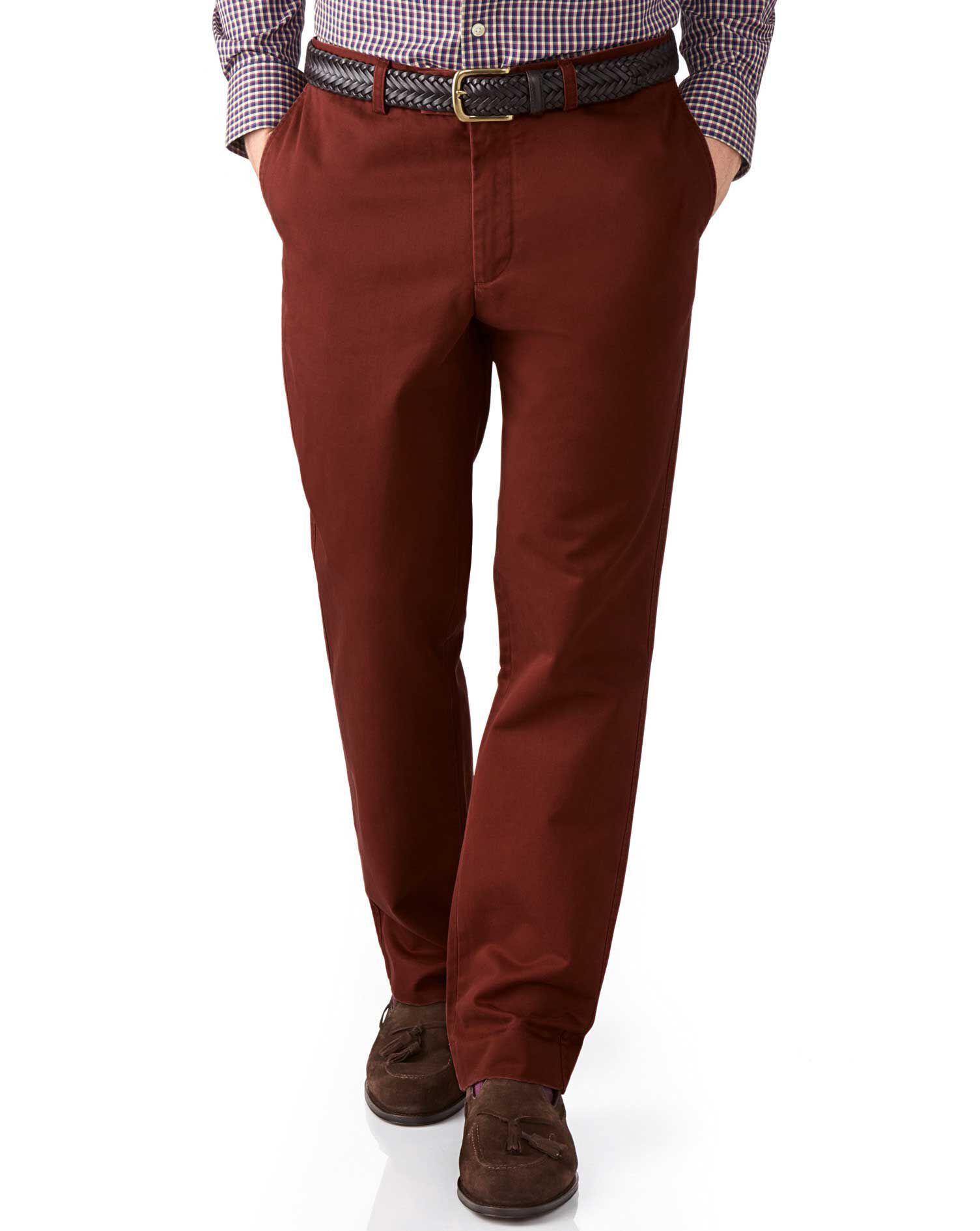 Copper Slim Fit Flat Front Cotton Chino Trousers Size W42 L32 by Charles Tyrwhitt