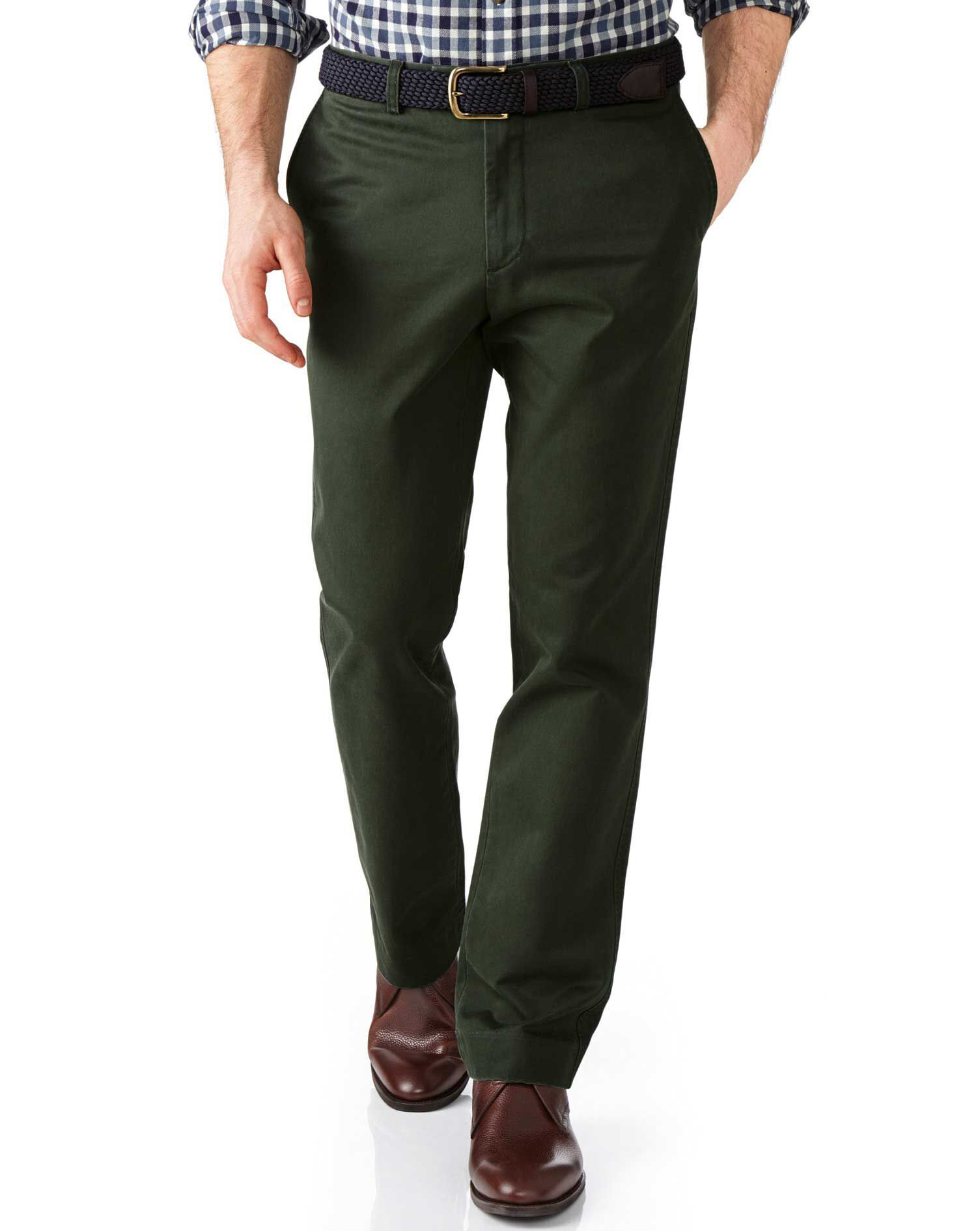 Dark Green Slim Fit Flat Front Weekend Cotton Chino Trousers Size W42 L29 by Charles Tyrwhitt