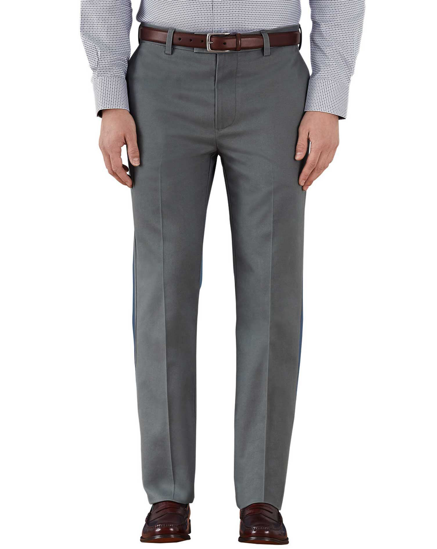 Grey Slim Fit Flat Front Weekend Cotton Chino Trousers Size W30 L30 by Charles Tyrwhitt