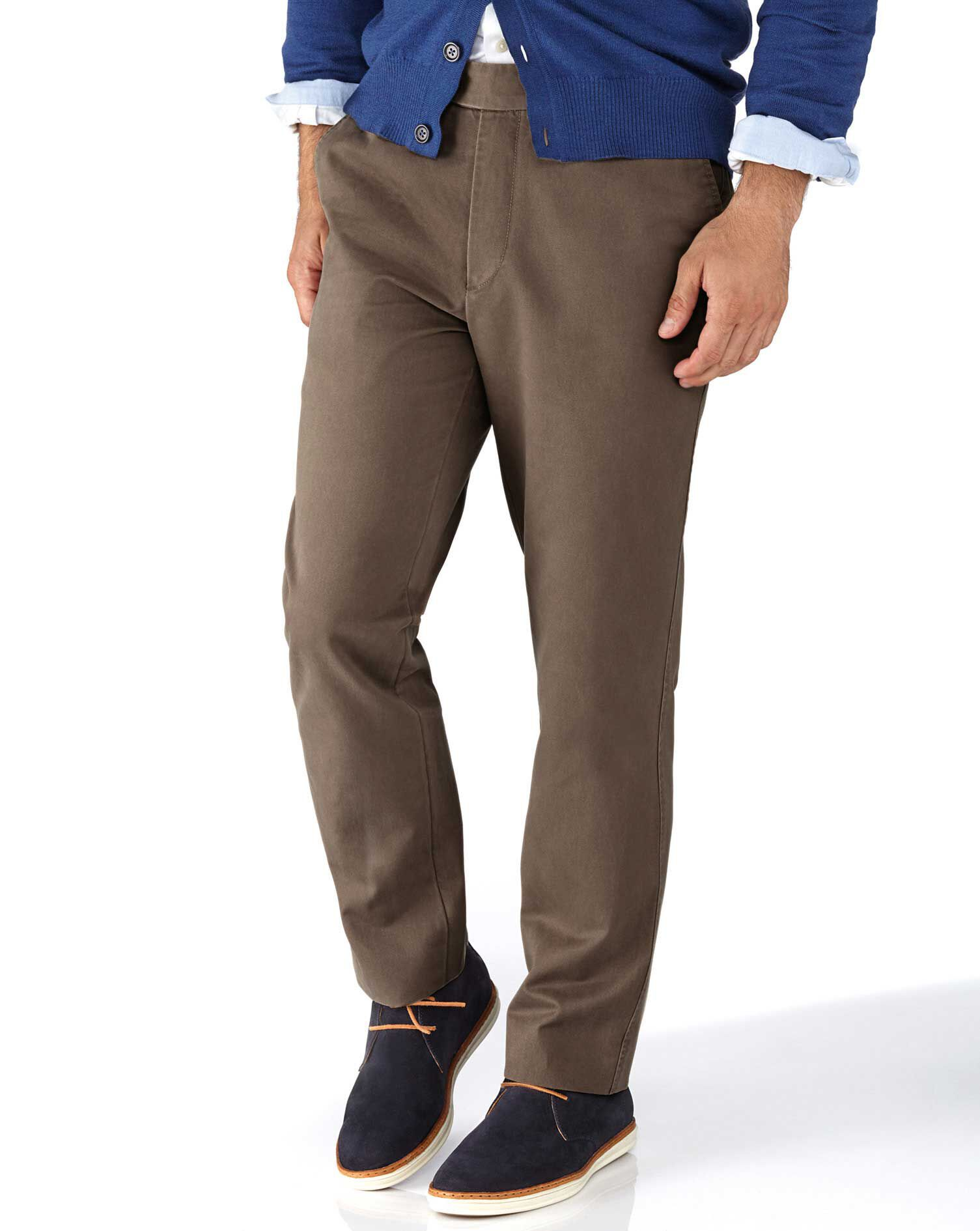 Light Brown Slim Fit Flat Front Cotton Chino Trousers Size W30 L38 by Charles Tyrwhitt