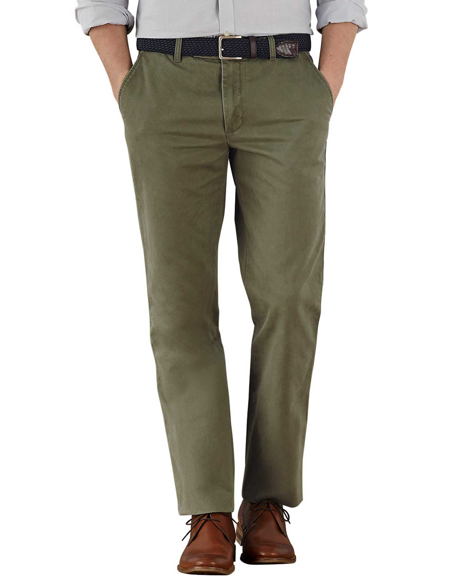 Olive Slim Fit Flat Front Cotton Chino Trousers Size W36 L32 by Charles Tyrwhitt