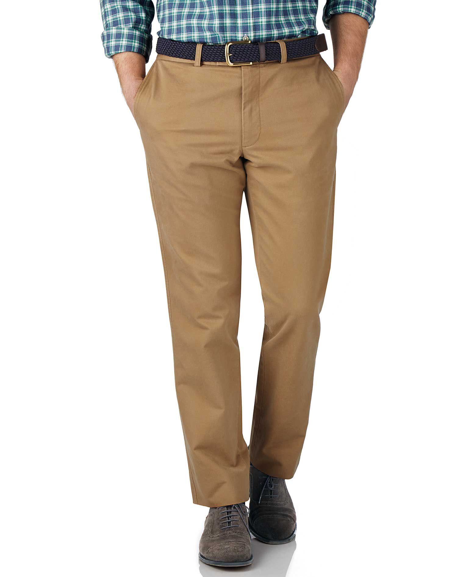 Tan Slim Fit Flat Front Weekend Cotton Chino Trousers Size W30 L32 by Charles Tyrwhitt